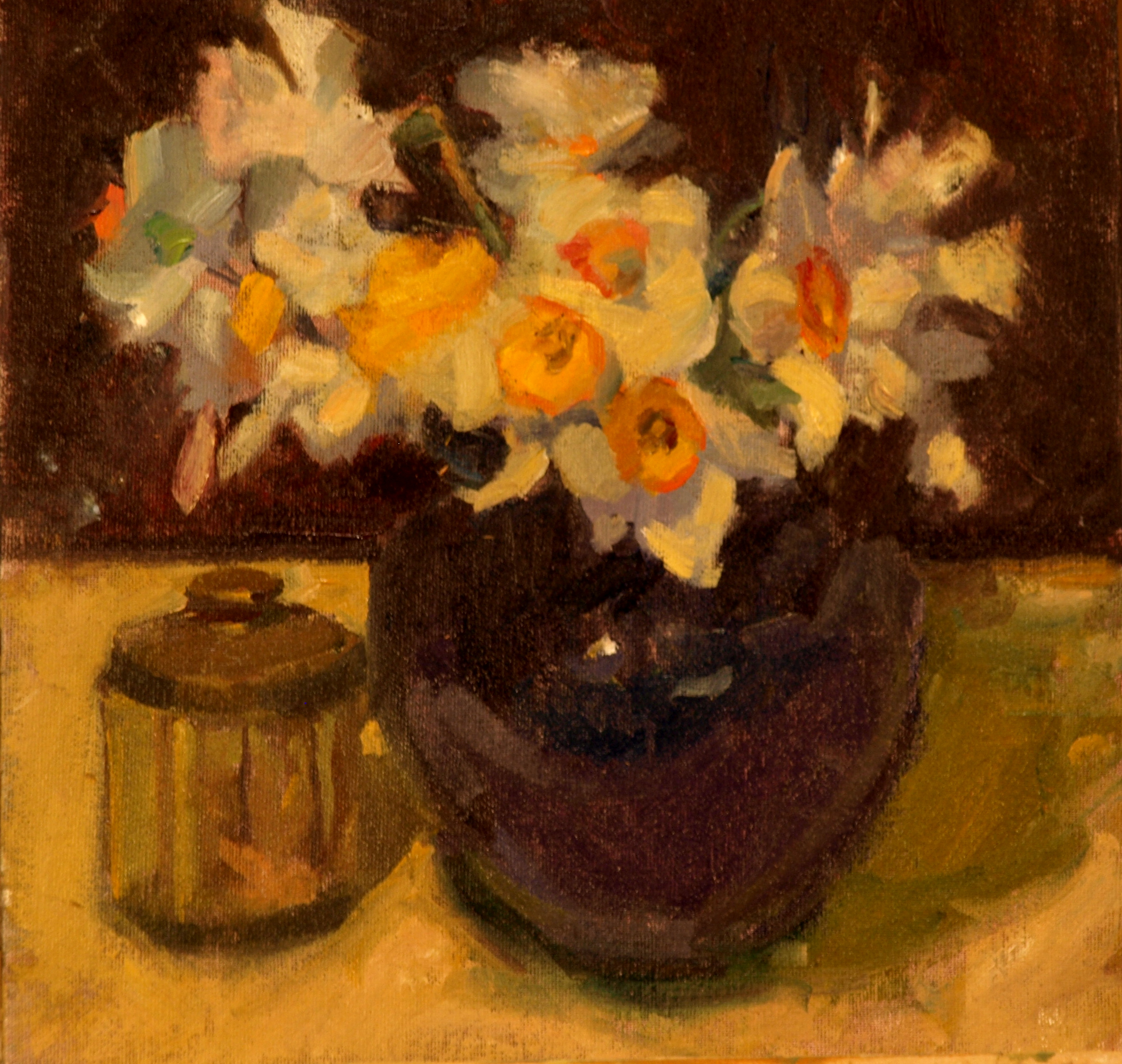 Daffodils, Oil on Canvas on Panel, 12 x 12 Inches, by Susan Grisell, $400