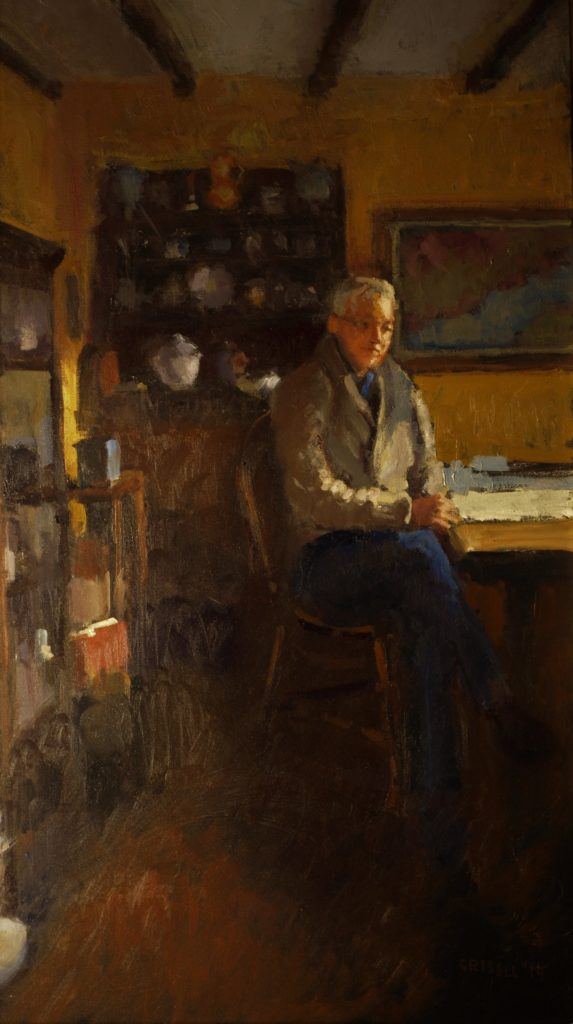 Bill at the Table, Oil on Canvas, 36 x 24 Inches, by Susan Grisell, $1500