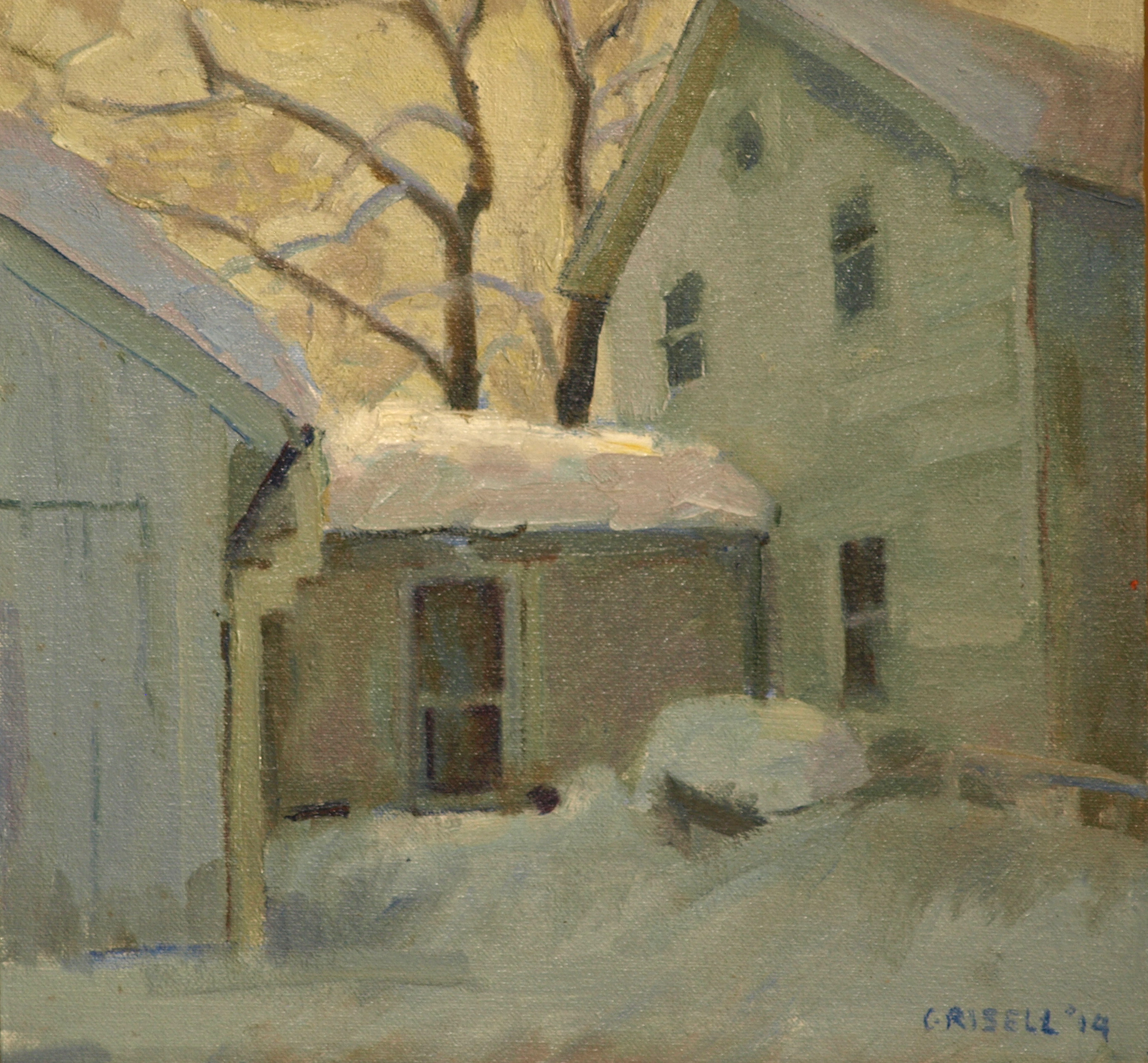 Deep Snow, Oil on Canvas on Panel, 12 x 12 Inches, by Susan Grisell, $250