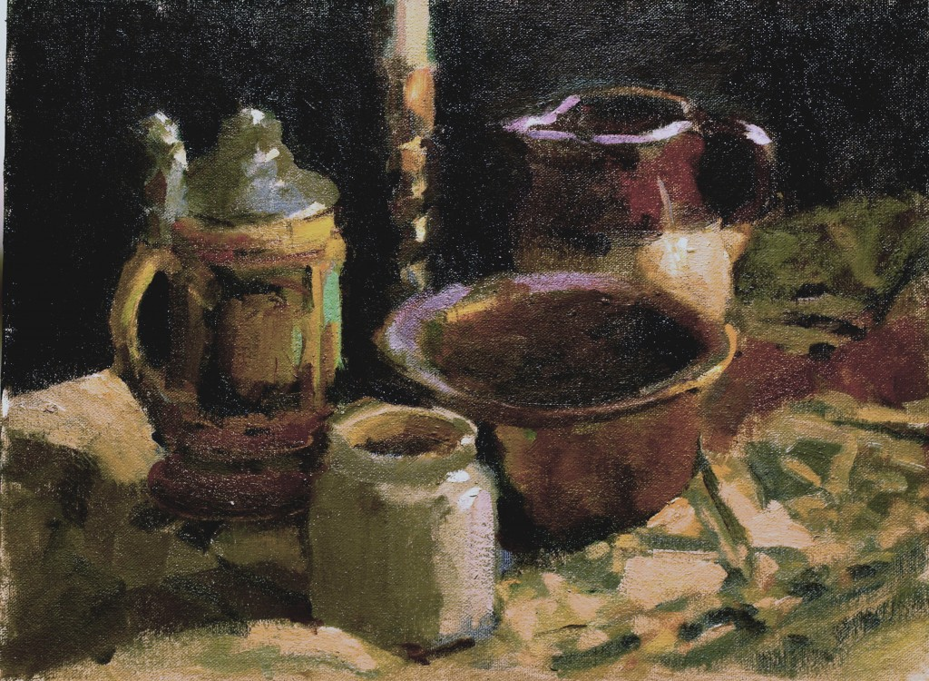 Pottery and Brass, Oil on Canvas on Panel, 12 x 16 Inches, by Susan Grisell, $300