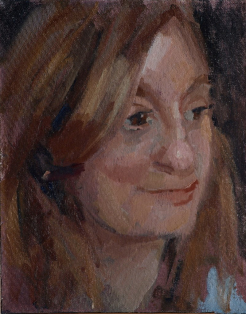 Smile, Oil on Canvas on Panel, 10 x 8 Inches, by Susan Grisell, $150