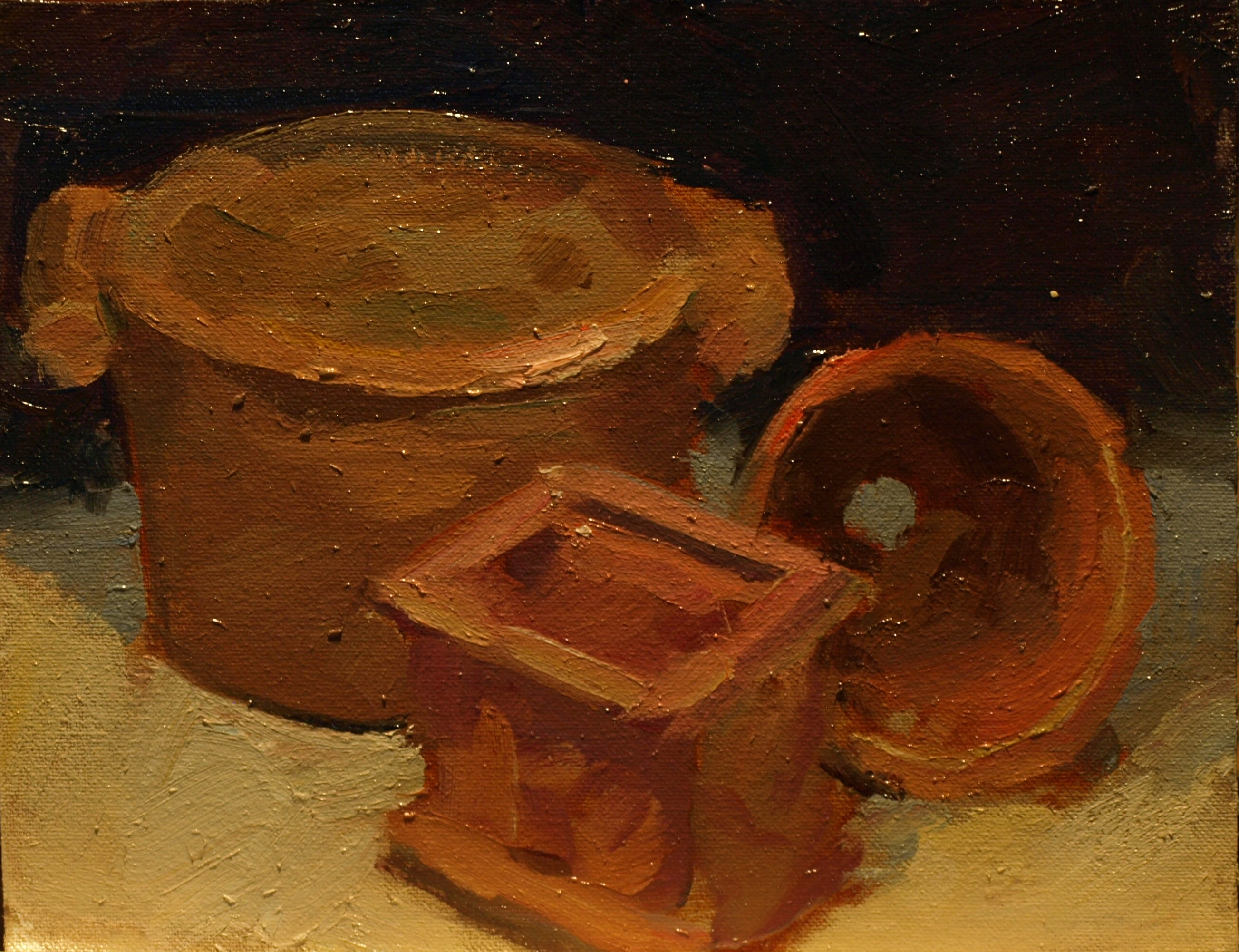 Terra Cotta, Oil on Canvas on Panel, 8 x 10 Inches, by Susan Grisell, $150