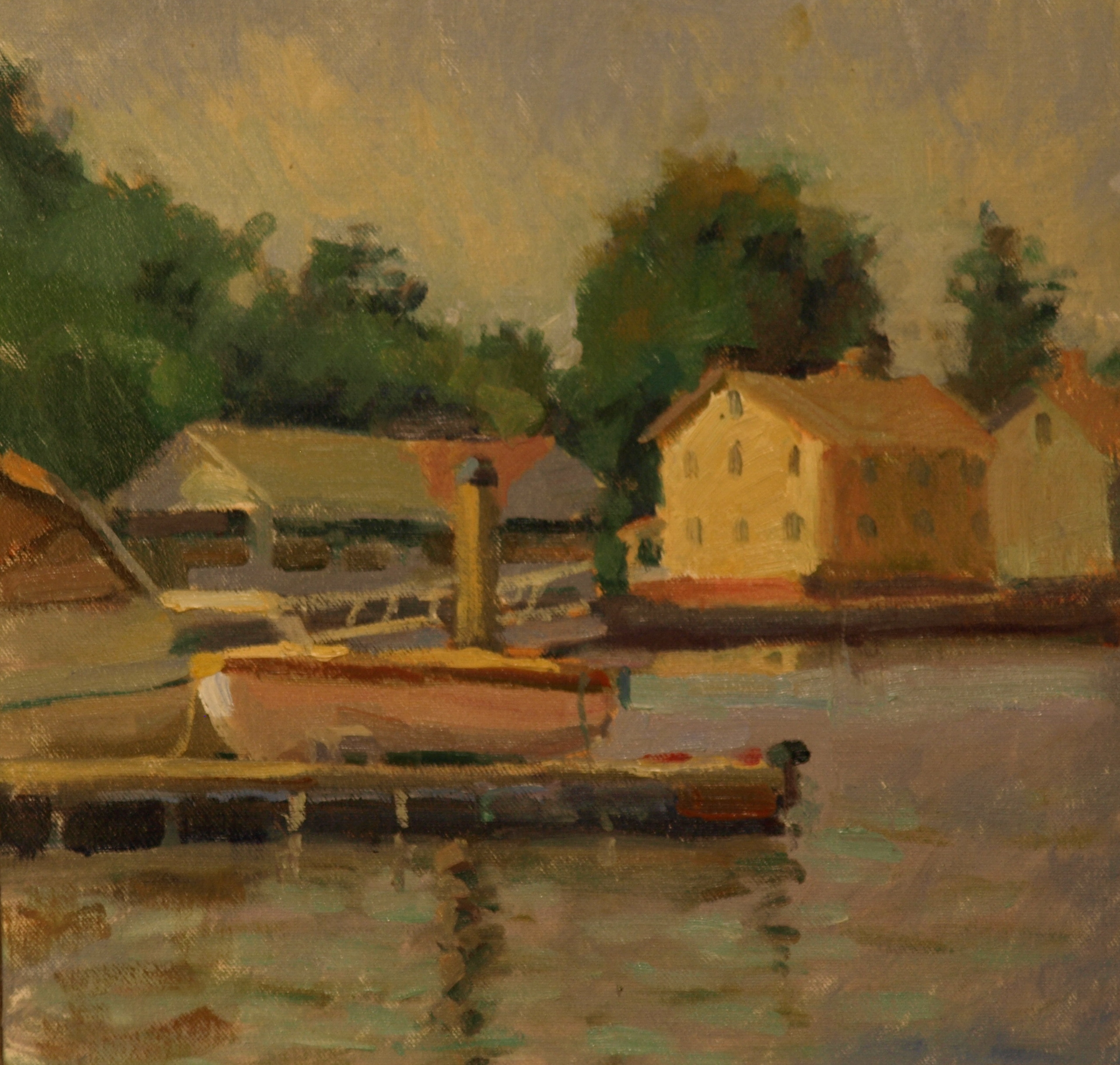 Dock - Mystic River, Oil on Canvas on Panel, 12 x 12 Inches, by Susan Grisell, $300