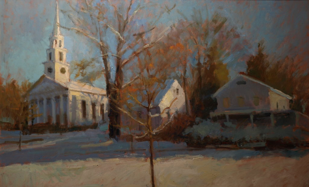 Winter in New Milford, Oil on Canvas, 24 x 36 Inches, by Susan Grisell, $1500