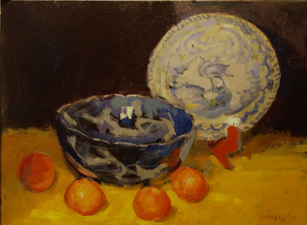 Blue Bowl and Oranges, Oil on Canvas, 18 x 24 Inches, by Susan Grisell, $750