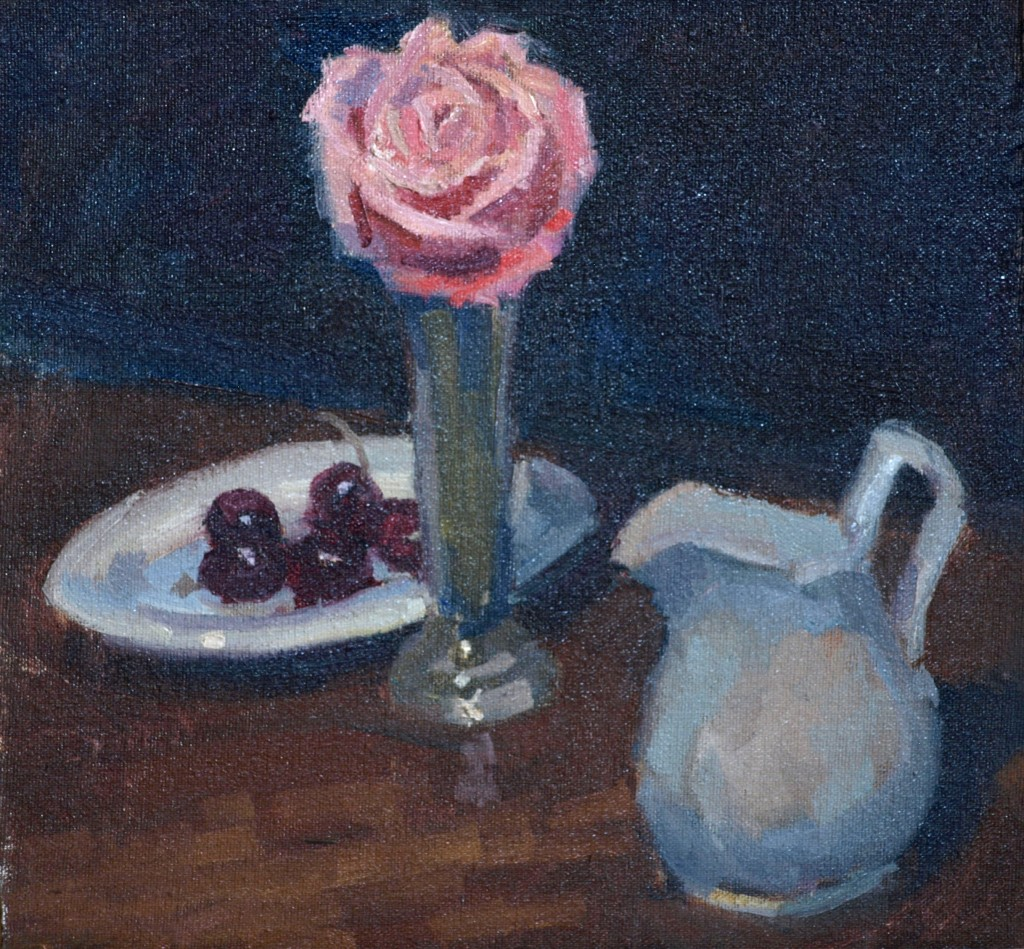 Cherries Pitcher Rose, Oil on Canvas on Panel, 12 x 12 Inches, by Susan Grisell, $250