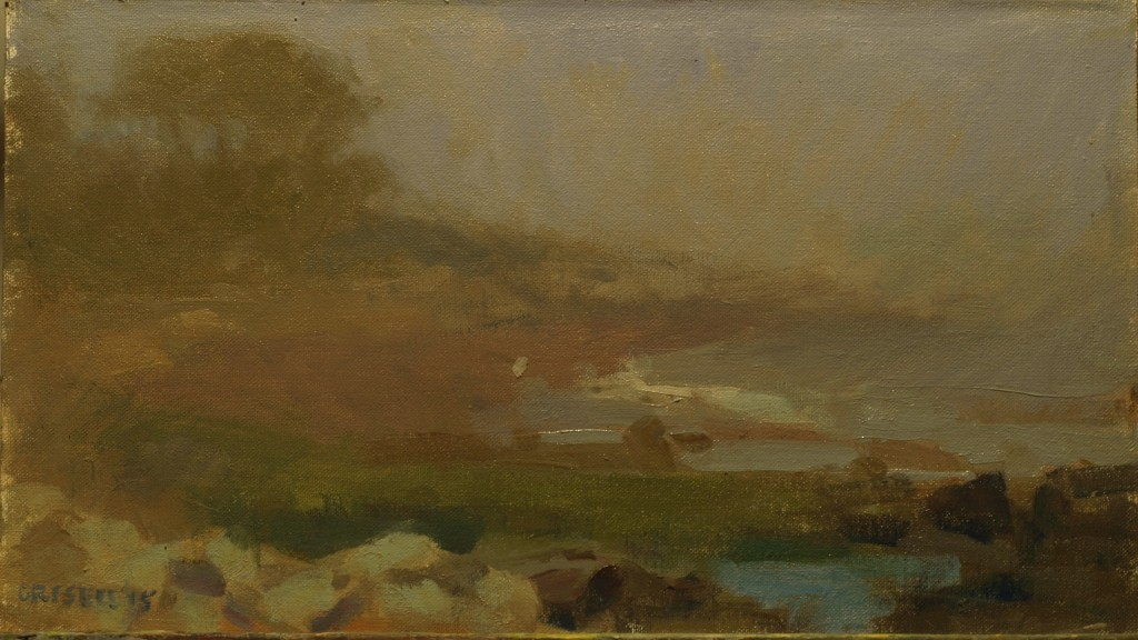 Coastal Fog, Oil on Canvas on Panel, 9 x 16 Inches, by Susan Grisell, $250