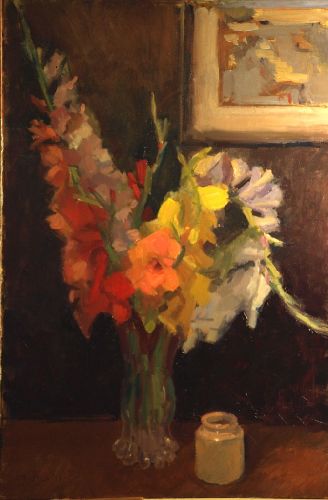 Gladioloi, Oil on Canvas, 36 x 24 Inches, by Susan Grisell, $1200