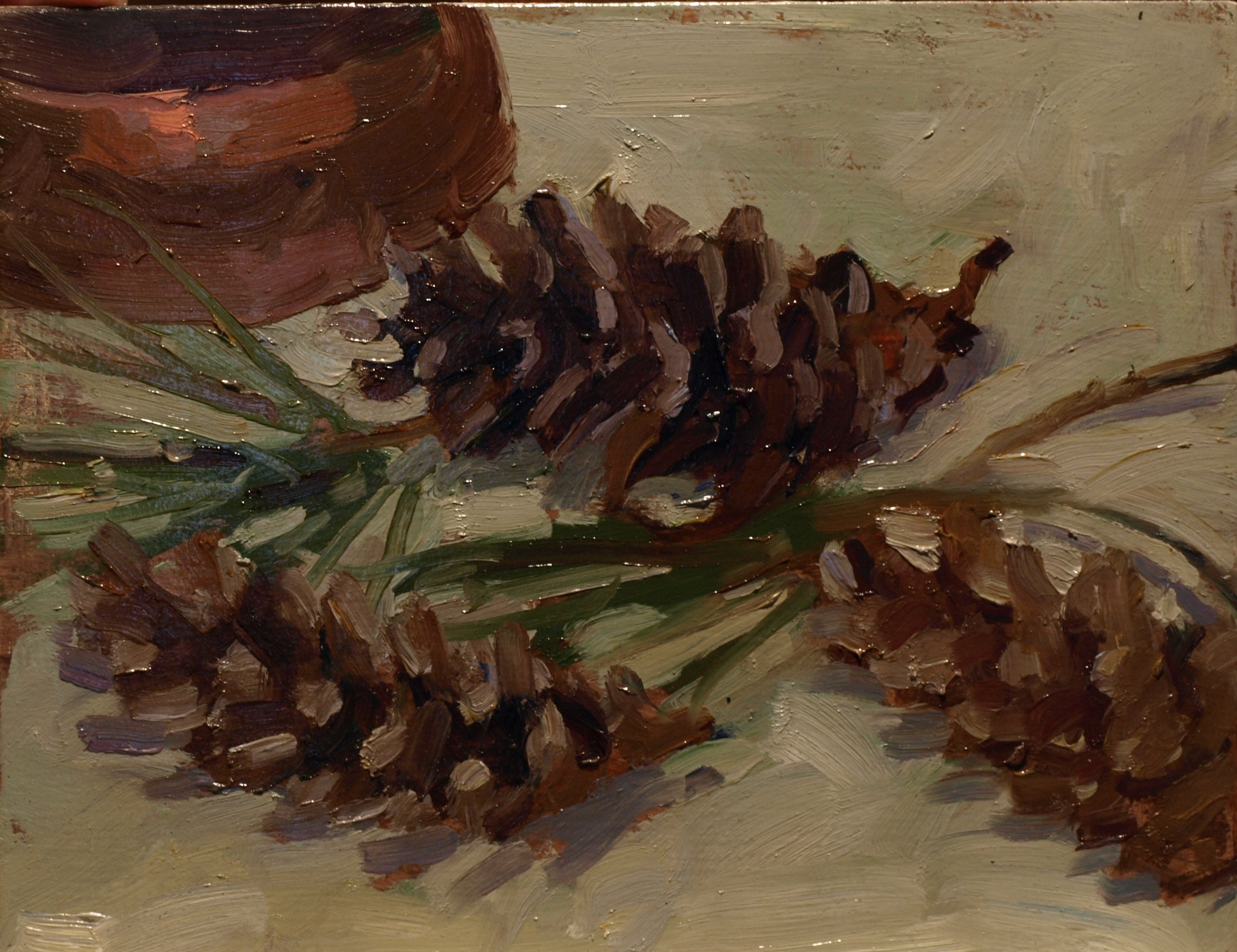 Pine Cones, Oil on Panel, 8 x 10 Inches, by Susan Grisell, $165
