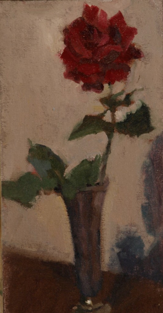 Rose, Oil on Canvas on Panel, 12 x 6 Inches, by Susan Grisell, $200