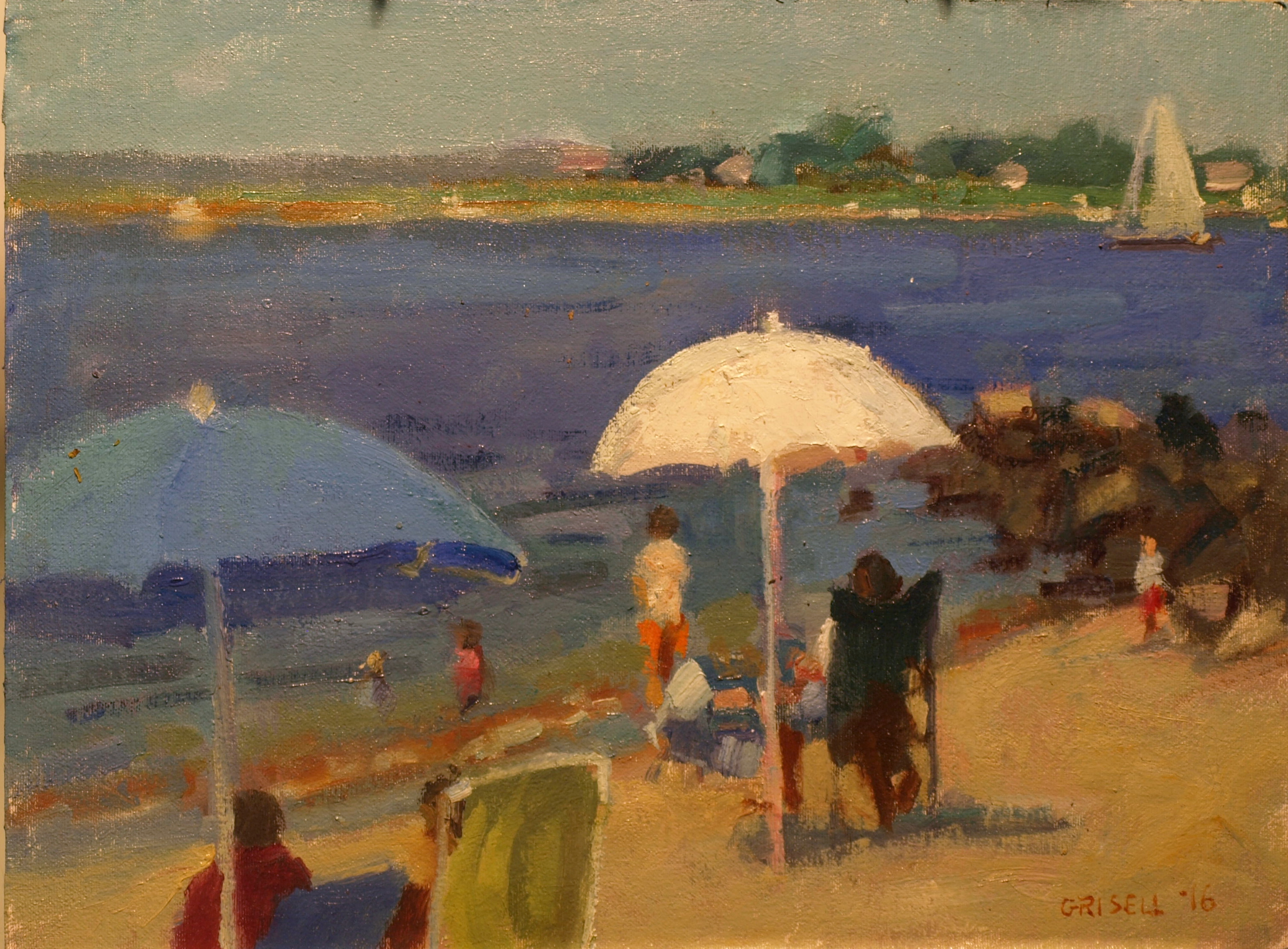 Beach Umbrellas, Oil on Canvas on Panel, 12 x 16 Inches, by Susan Grisell, $275