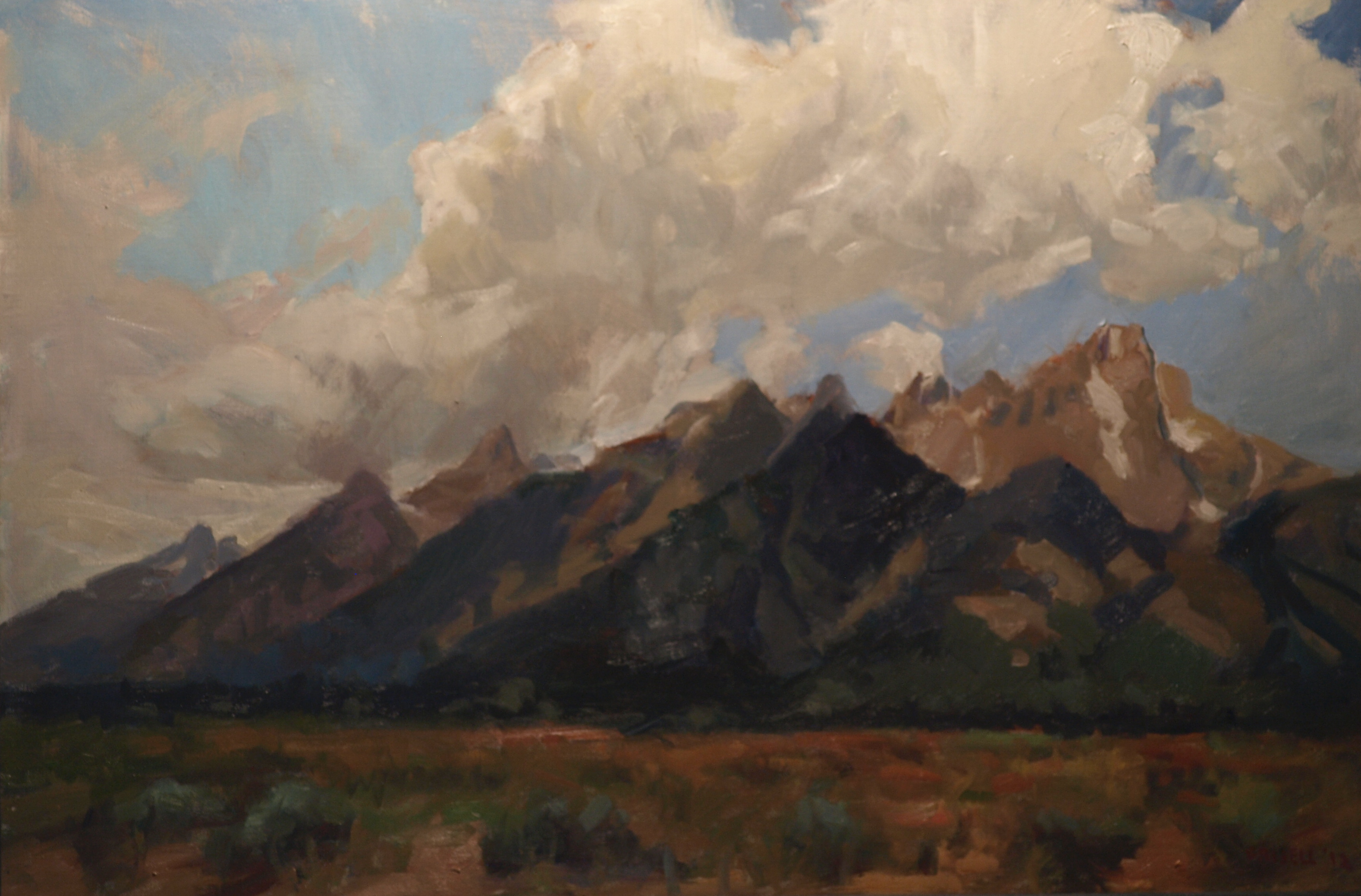 Grand Tetons, Oil on Canvas, 24 x 36 Inches, by Susan Grisell, $1200