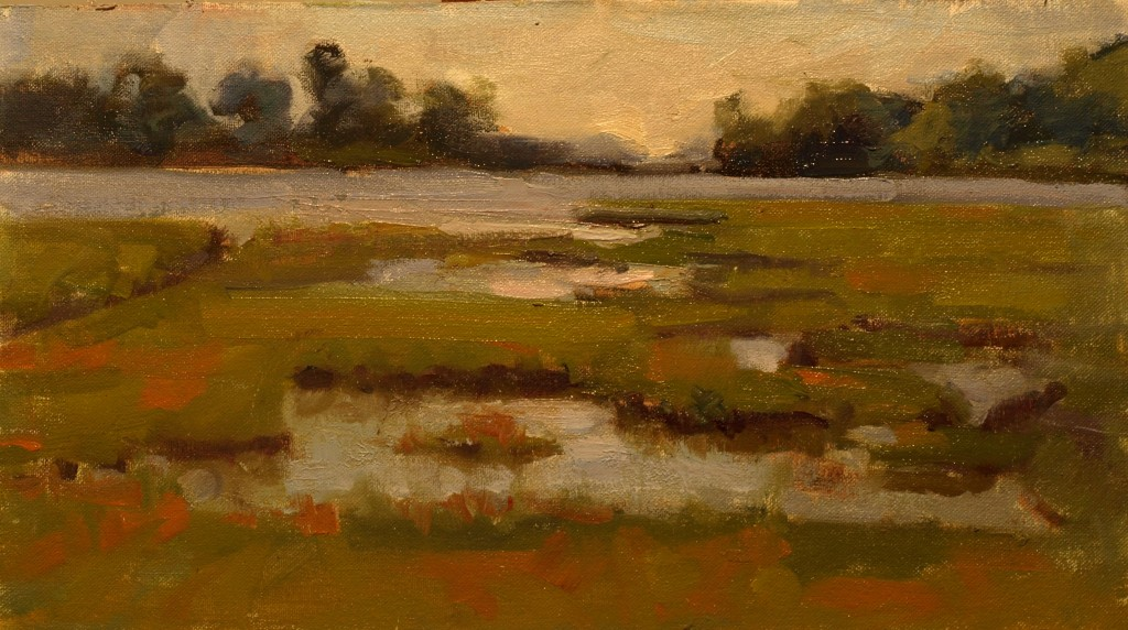 Salt Marsh - Stonington, Oil on Canvas on Panel, 9 x 16 Inches, by Susan Grisell, $250