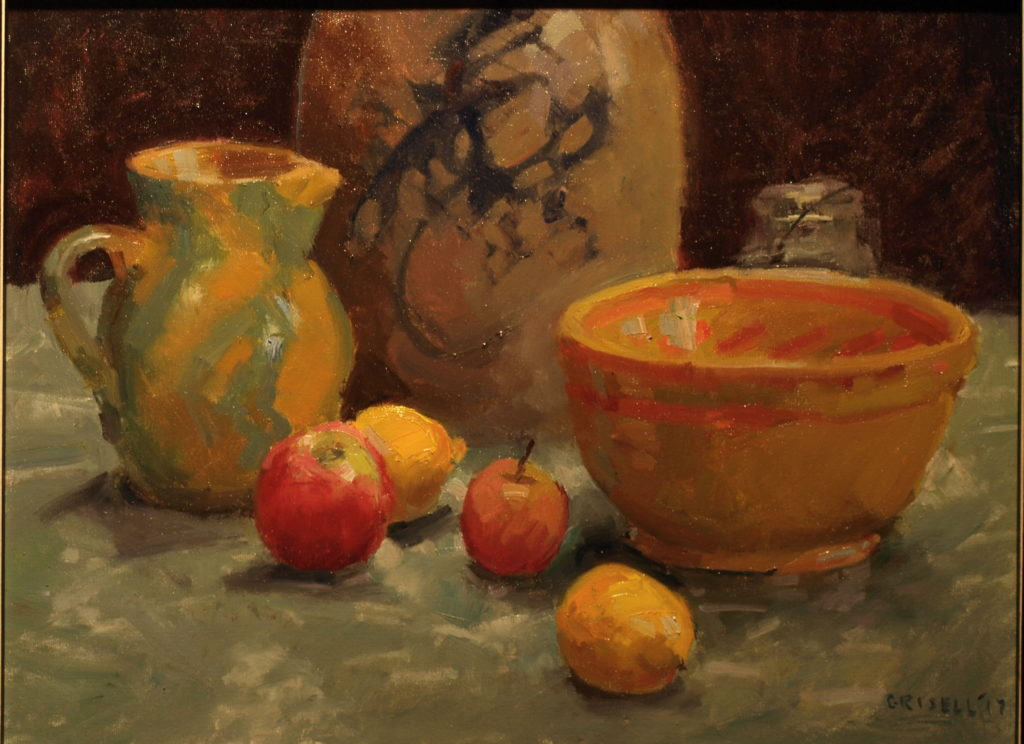 Still Life with Crock, Oil on Canvas, 18 x 24 Inches, by Susan Grisell, $750
