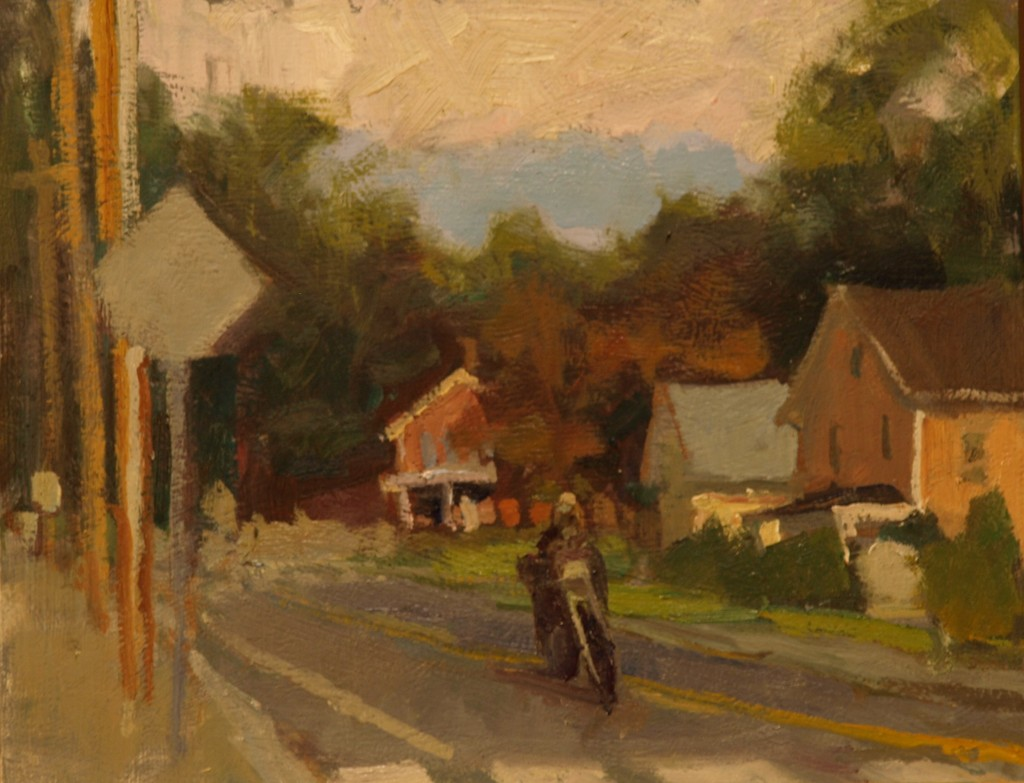 Cyclist - Church Street, Oil on Panel, 8 x 10 Inches, by Susan Grisell, $200