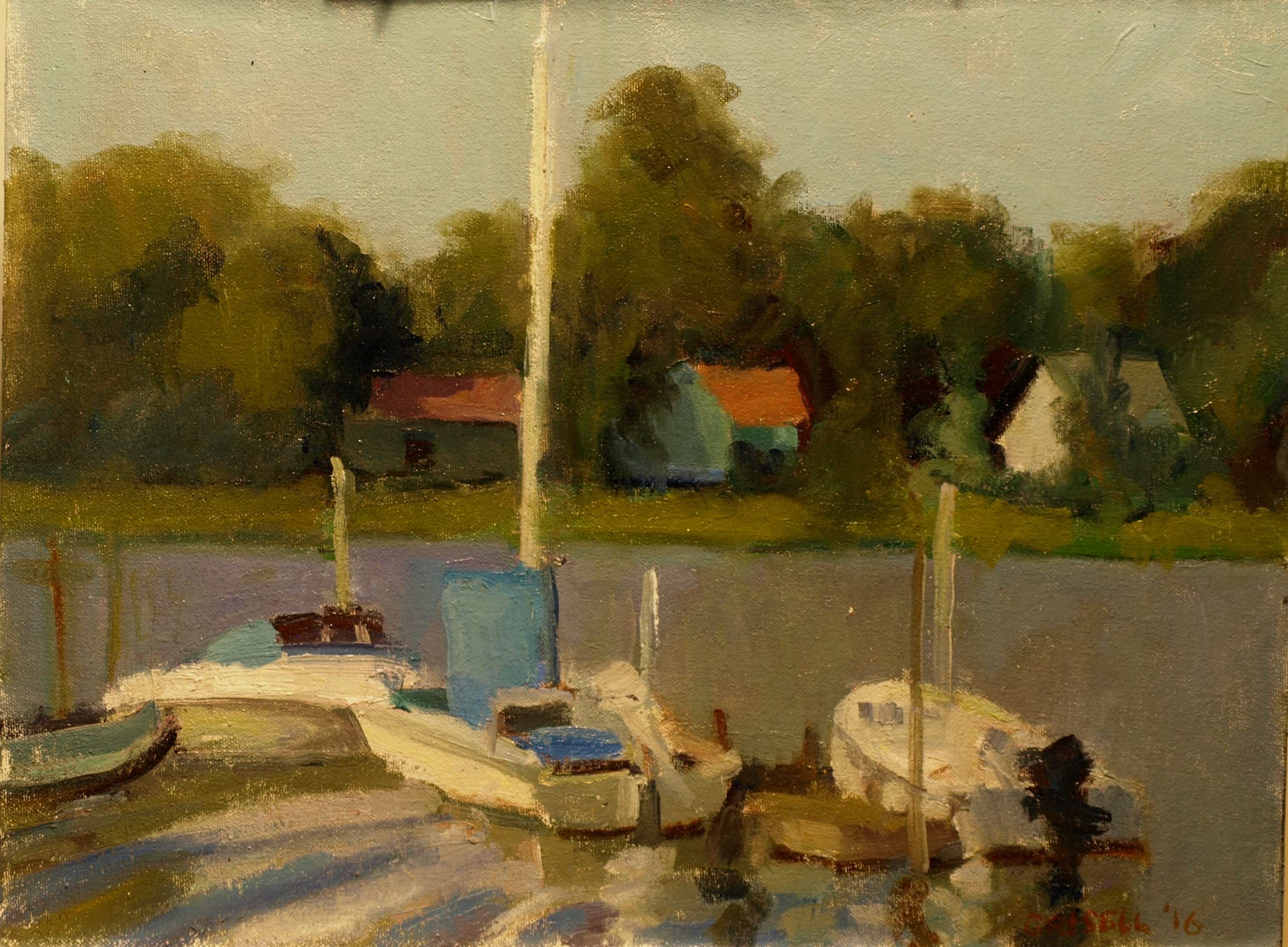 Docked Sailboat, Oil on Canvas on Panel, 12 x 16 Inches, by Susan Grisell, $300