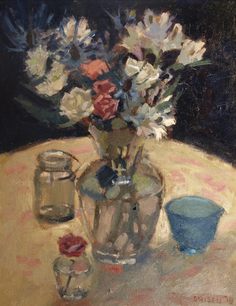 Flowers and Glass, Oil on Canvas, 20 x 16 Inches, by Susan Grisell, $550