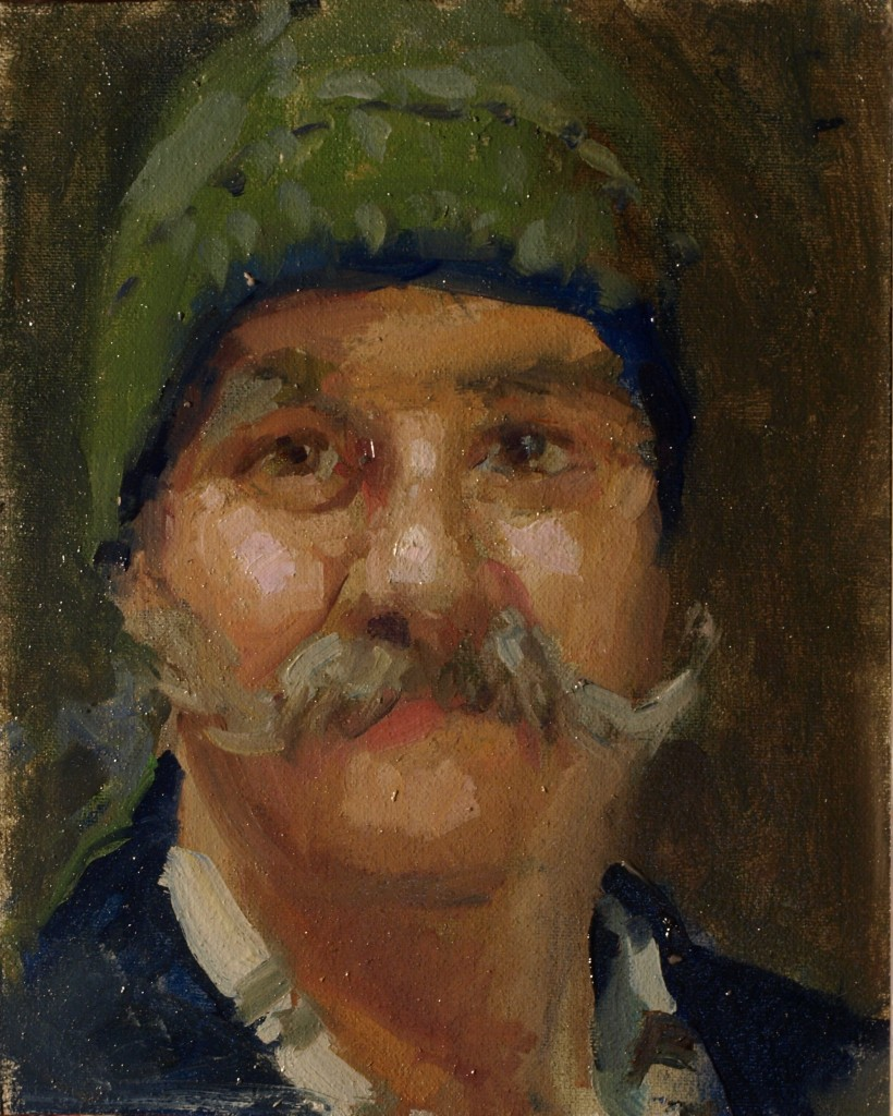 Guy's New Hat, Oil on Canvas on Panel, 10 x 8 Inches, by Susan Grisell, $200