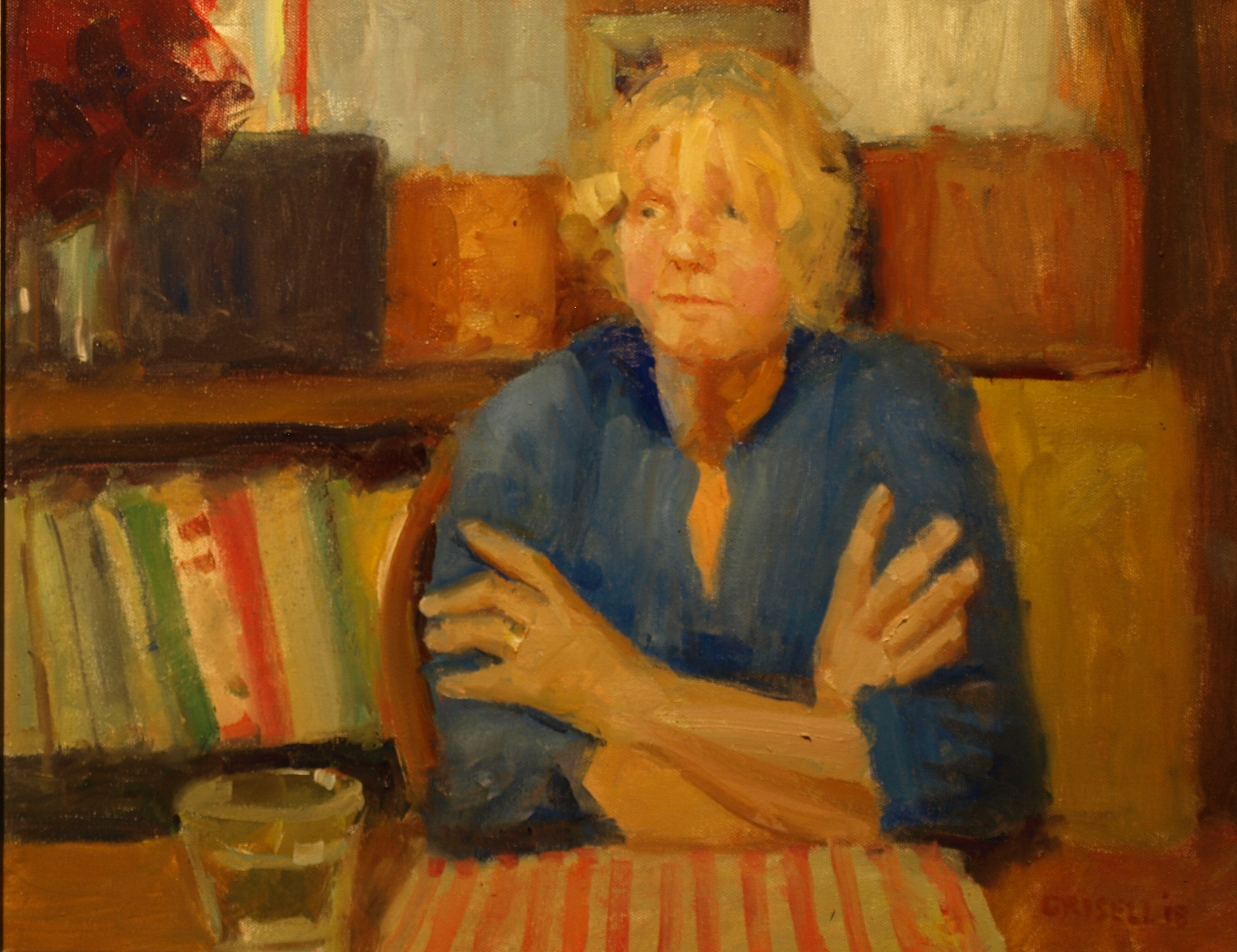Margery's Visit, Oil on Canvas, 16 x 20 Inches, by Susan Grisell, $550