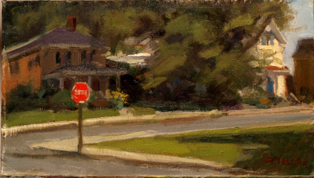 Street Corner - Amesbury, Oil on Canvas on Panel, 9 x 16 Inches, by Susan Grisell, $250