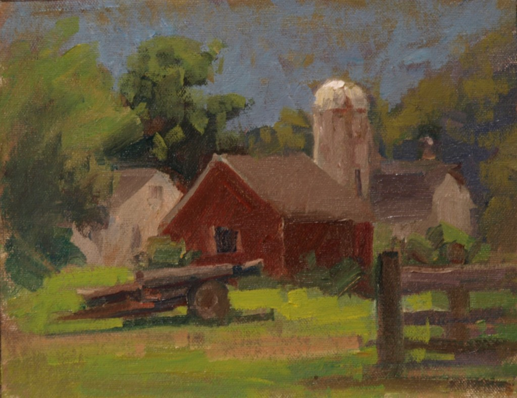 Barn in Kent, Oil on Canvas on Panel, 8 x 10 Inches, by Susan Grisell, $215