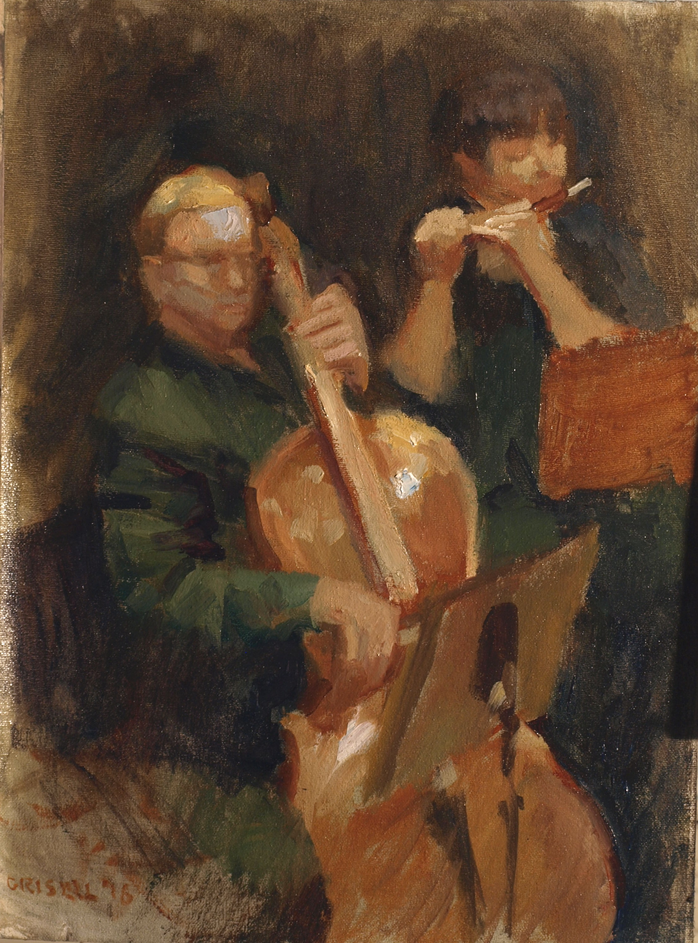 Concert, Oil on Canvas on Panel, 16 x 12 Inches, by Susan Grisell, $300