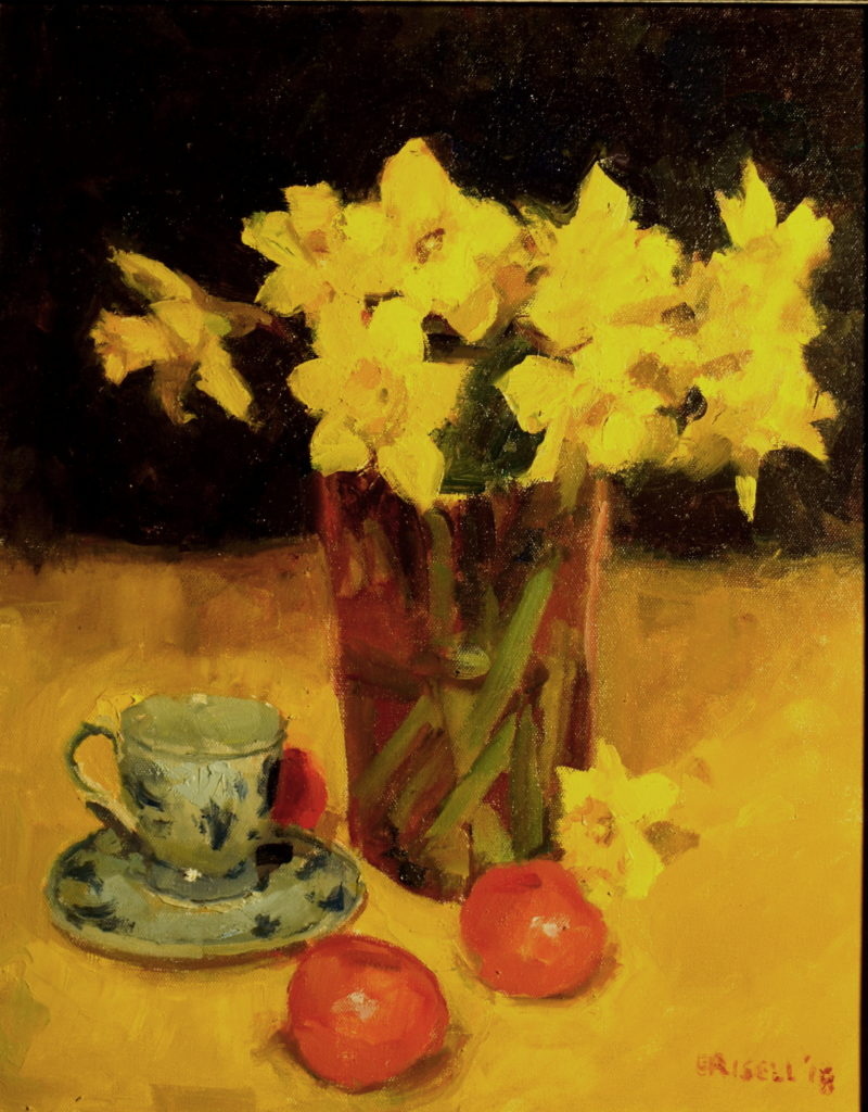 Daffodils and Delft, Oil on Canvas, 20 x 16 Inches, by Susan Grisell, $550