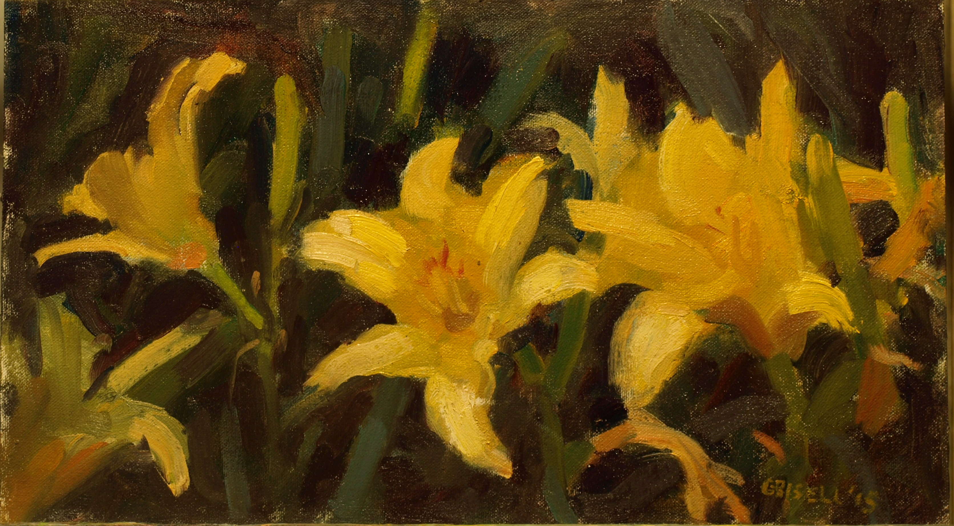 Daylilies, Oil on Canvas on Panel, 9 x 16 Inches, by Susan Grisell, $275