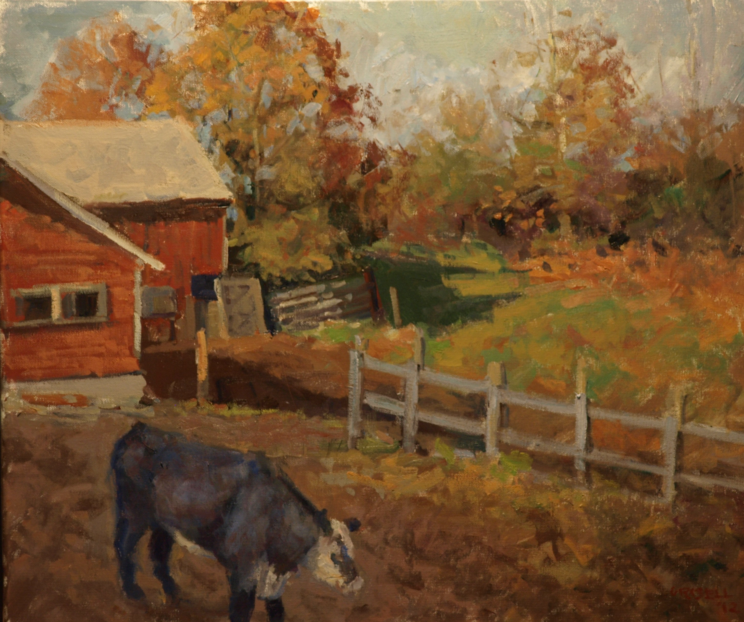 Newton Farm - October, Oil on Canvas, 20 x 24 Inches, by Susan Grisell, $650