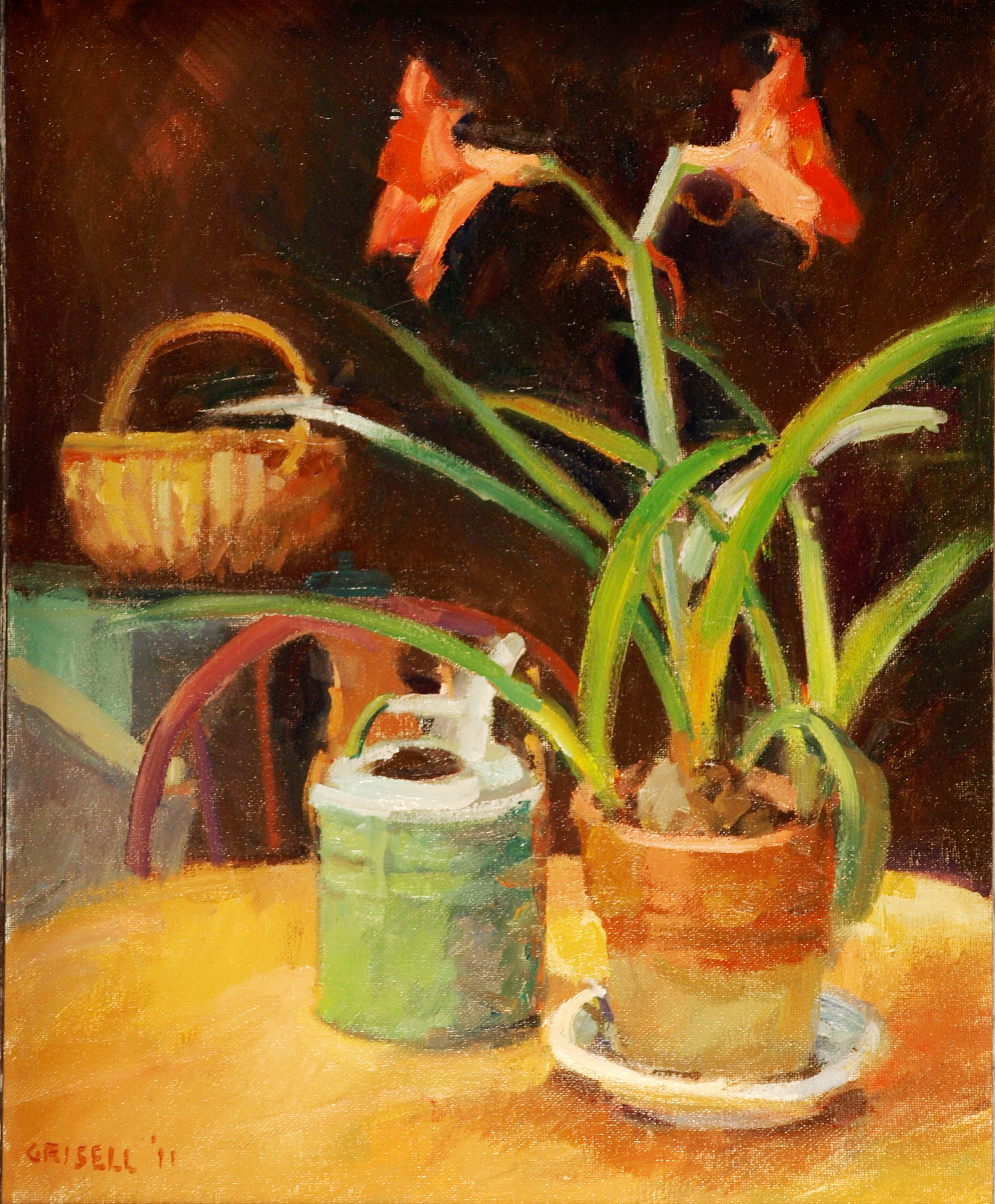 Red Amaryllis, Oil on Canvas, 20 x 16 Inches, by Susan Grisell, $450