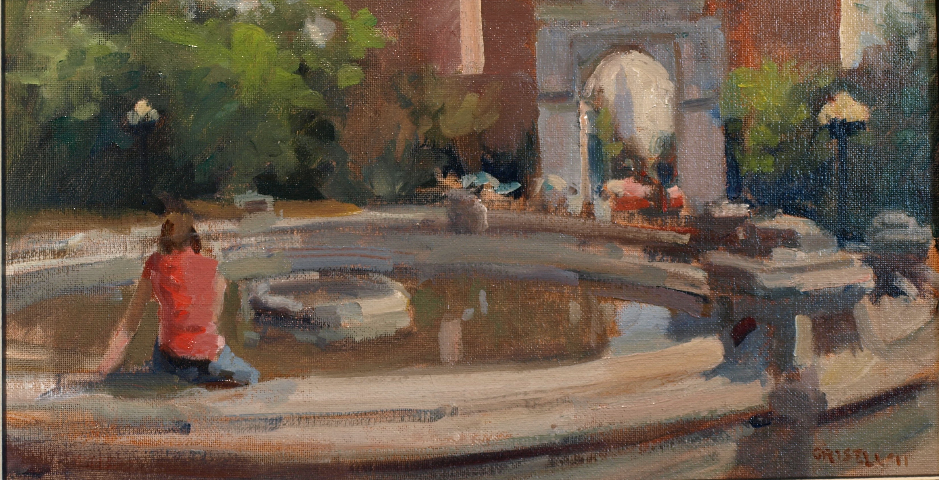 Washington Square, Oil on Canvas on Panel, 9 x 16 Inches, by Susan Grisell, $275