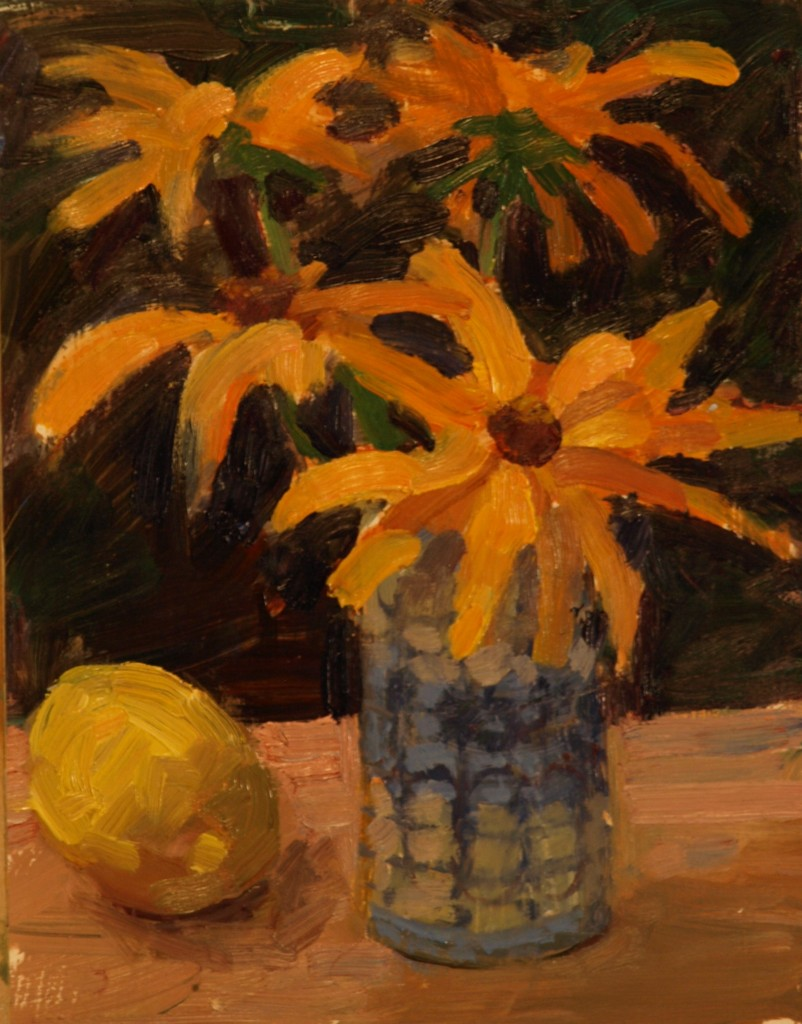 Bouquet with Lemmon, Oil on Panel, 10 x 8 Inches, by Susan Grisell, $200
