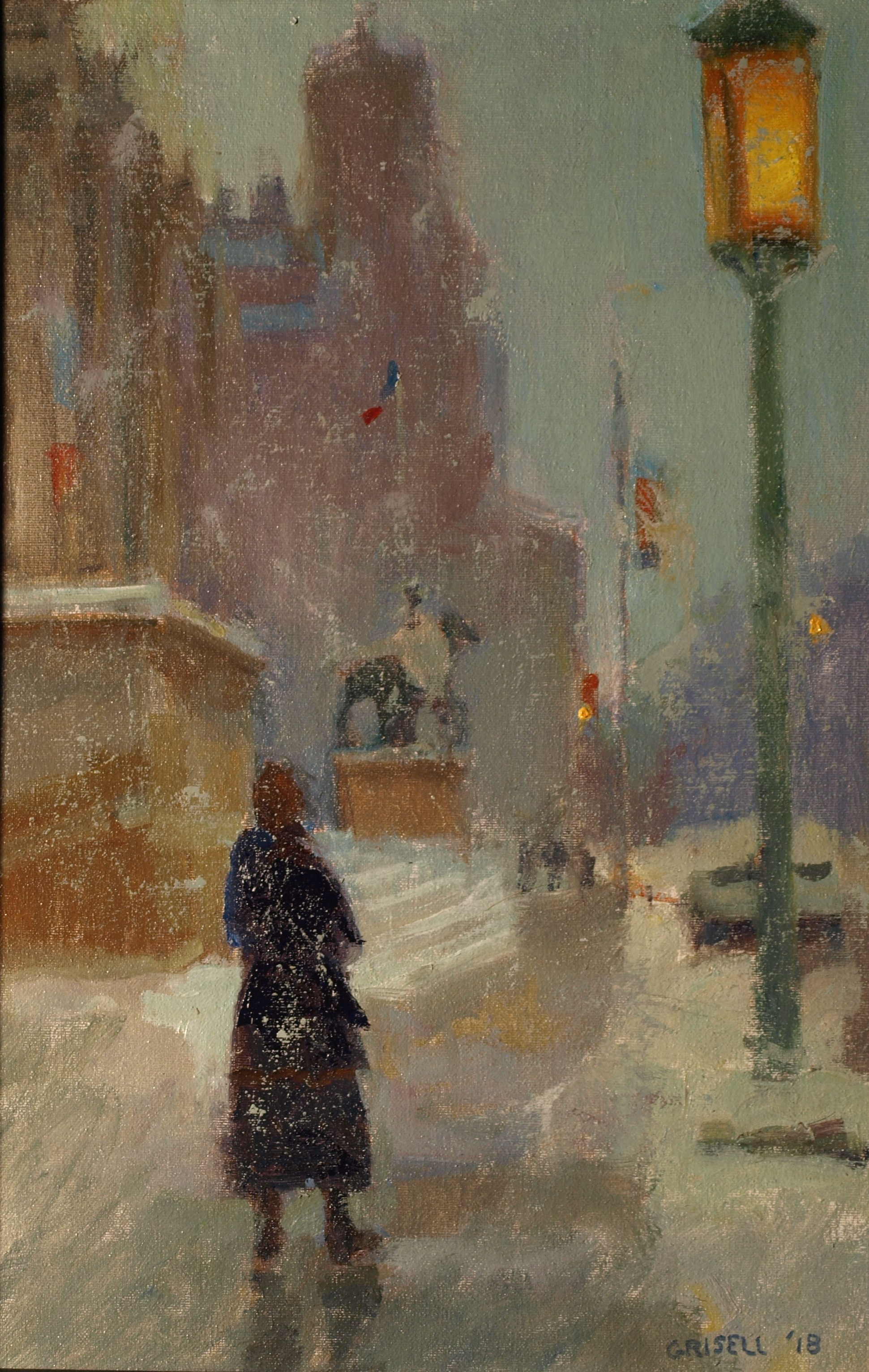 City Snow Storm, Oil on Canvas on Panel, 18 x 12 Inches, by Susan Grisell, $300