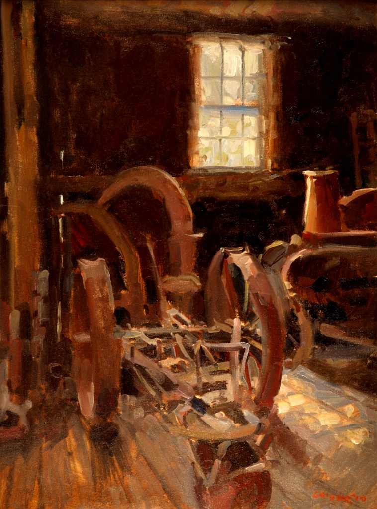 In the Barn, Oil on Canvas, 24 x 18 Inches, by Susan Grisell, $650