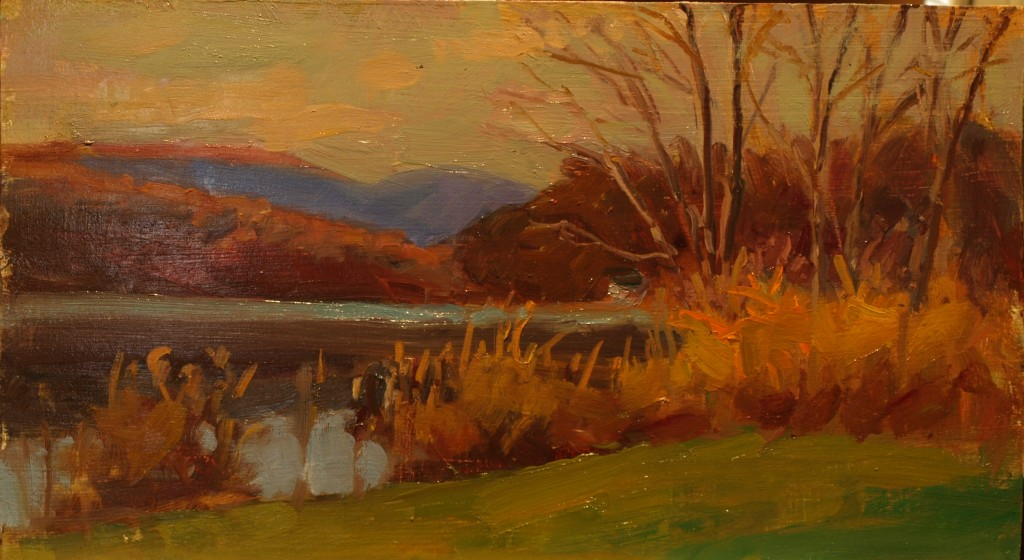 October -- Hatch Pond, Oil on Panel, 9 x 16 Inches, by Susan Grisell, $300