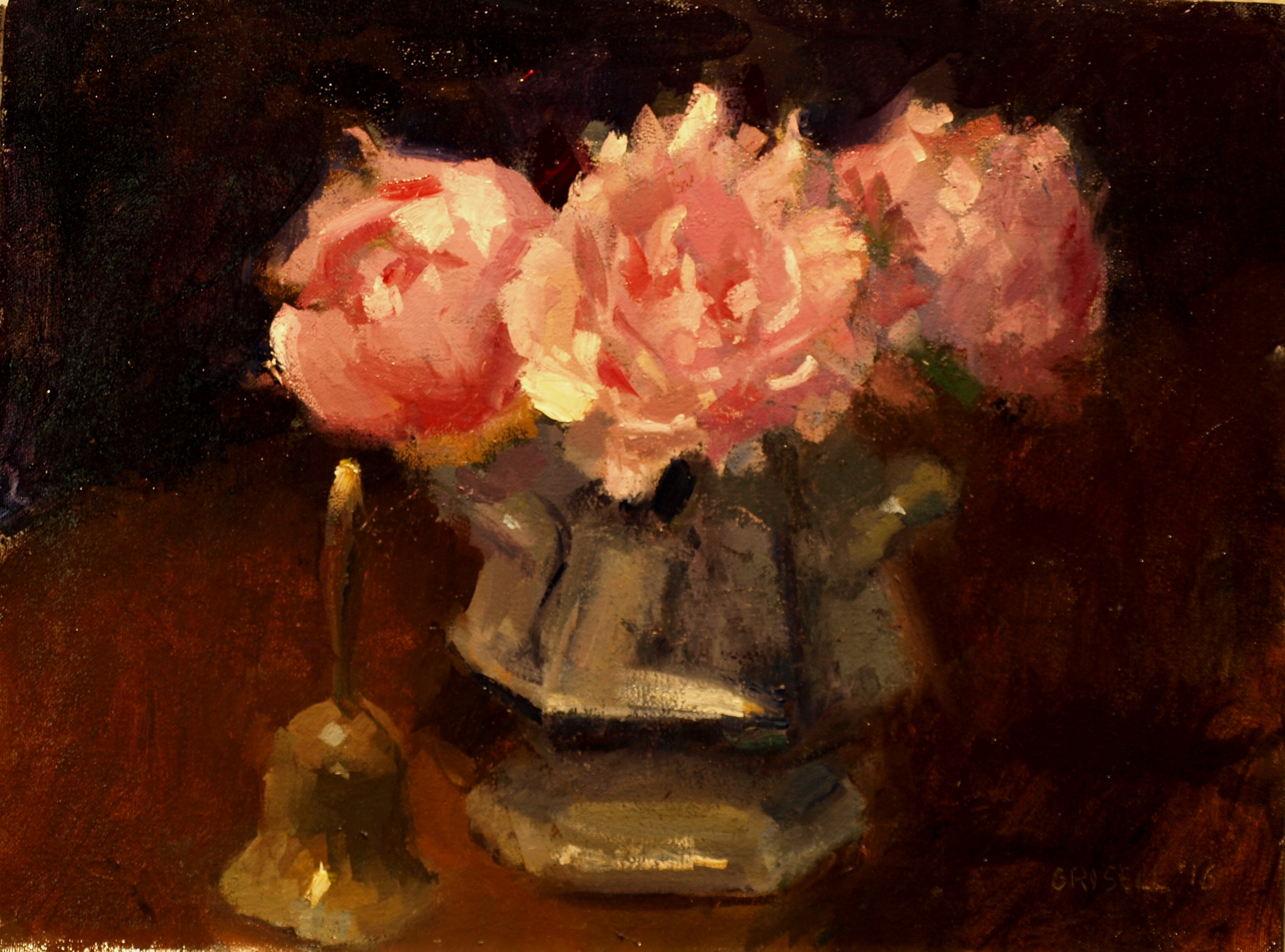 Peonies in Sugar Bowl, Oil on Canvas on Panel, 12 x 16 Inches, by Susan Grisell, $300