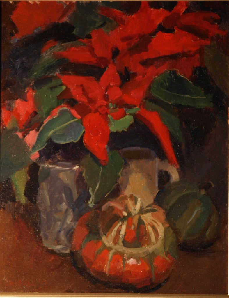 Poinsettia, Oil on Canvas, 20 x 16 Inches, by Susan Grisell, $450
