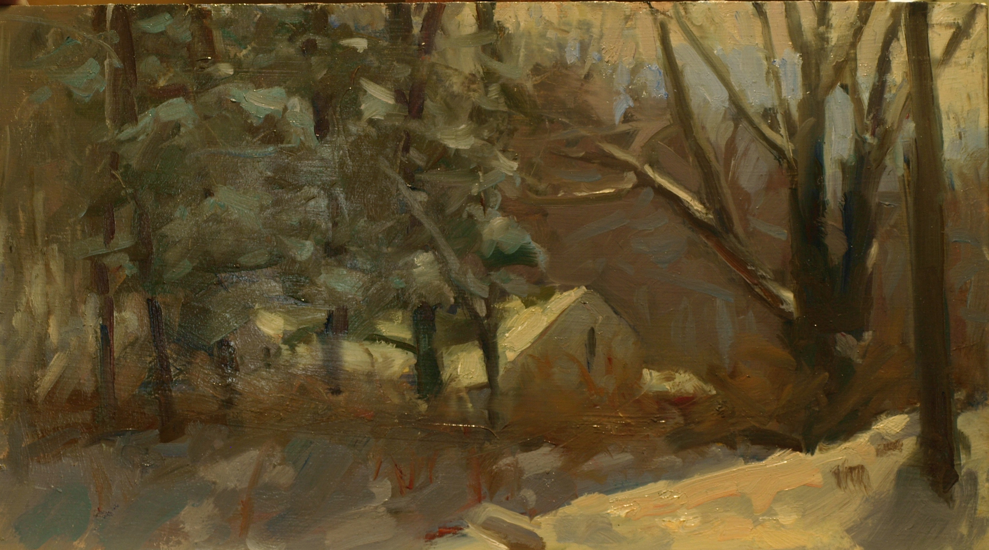 Across the Road, Oil on Panel, 9 x 16 Inches, by Susan Grisell, $275
