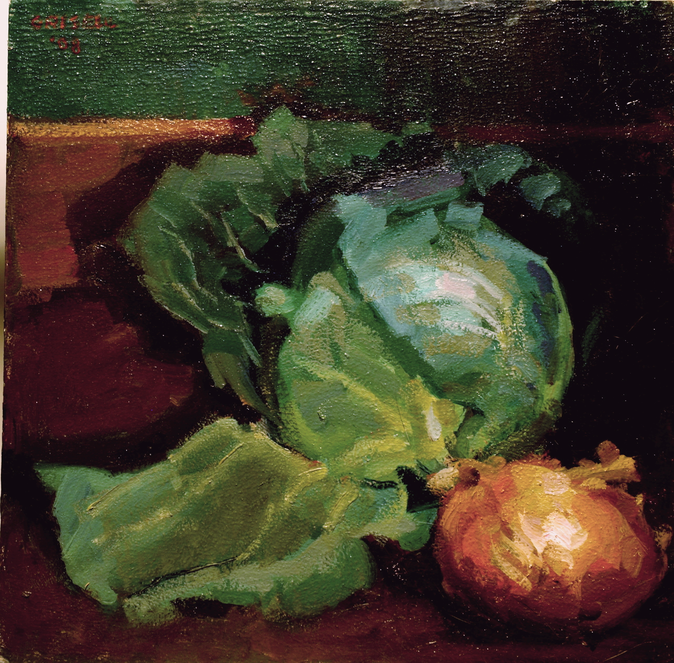 Cabbage and Onion, Oil on Panel, 12 x 12 Inches, by Susan Grisell, $250