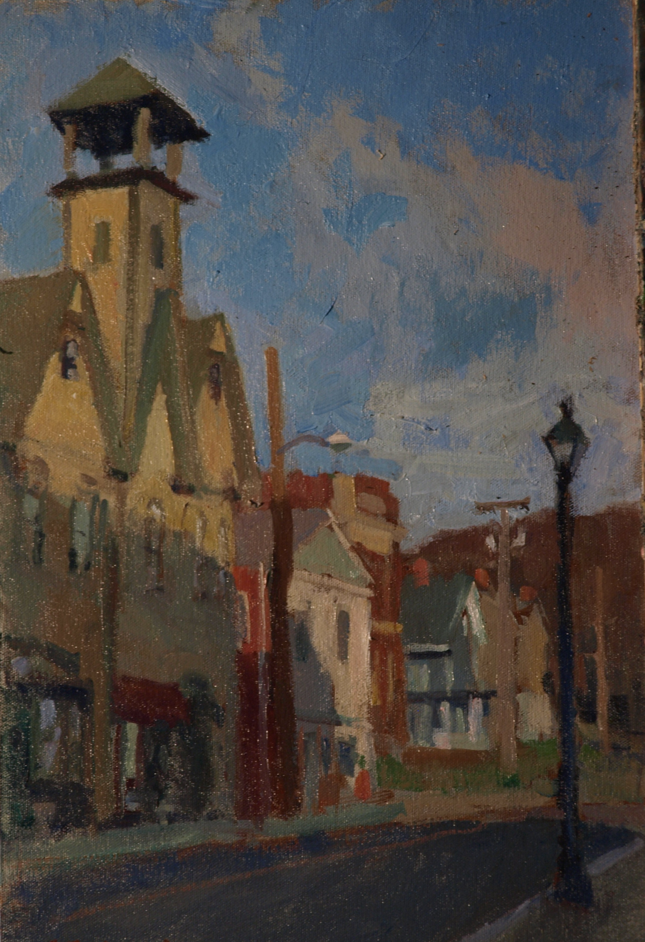 Firehouse - New Milford, Oil on Canvas on Panel, 18 x 12 Inches, by Susan Grisell, $275