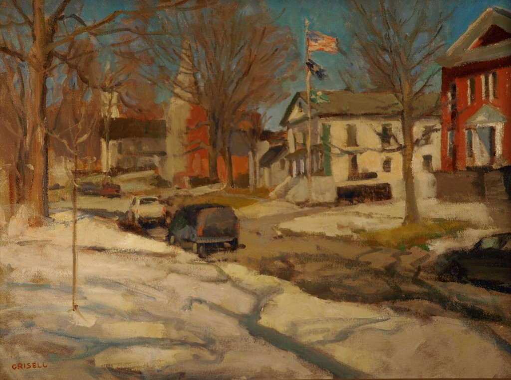 Main Street - Winter, Oil on Canvas, 18 x 24 Inches, by Susan Grisell, $650