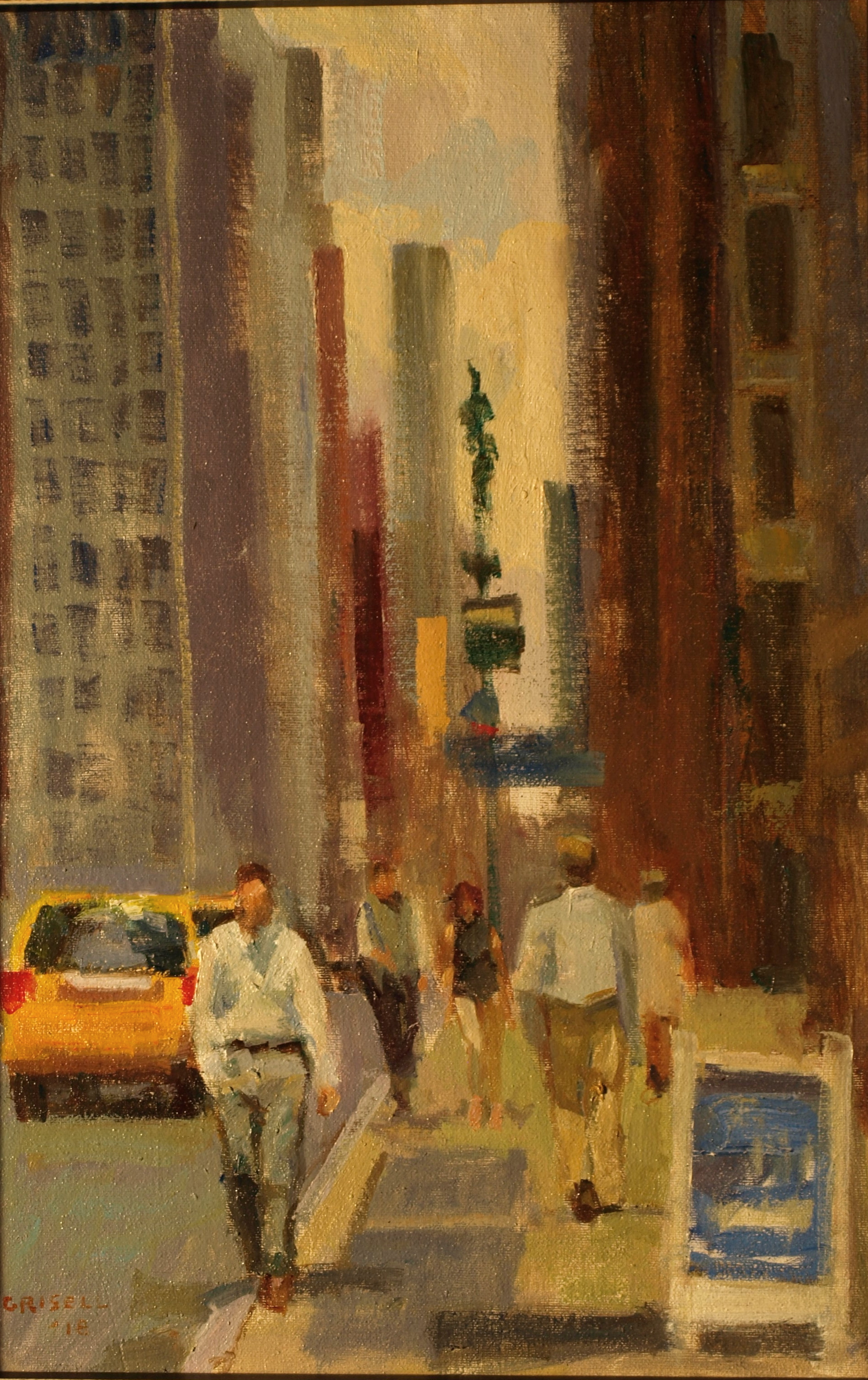 Midtown, Oil on Canvas on Panel, 18 x 12 Inches, by Susan Grisell, $300