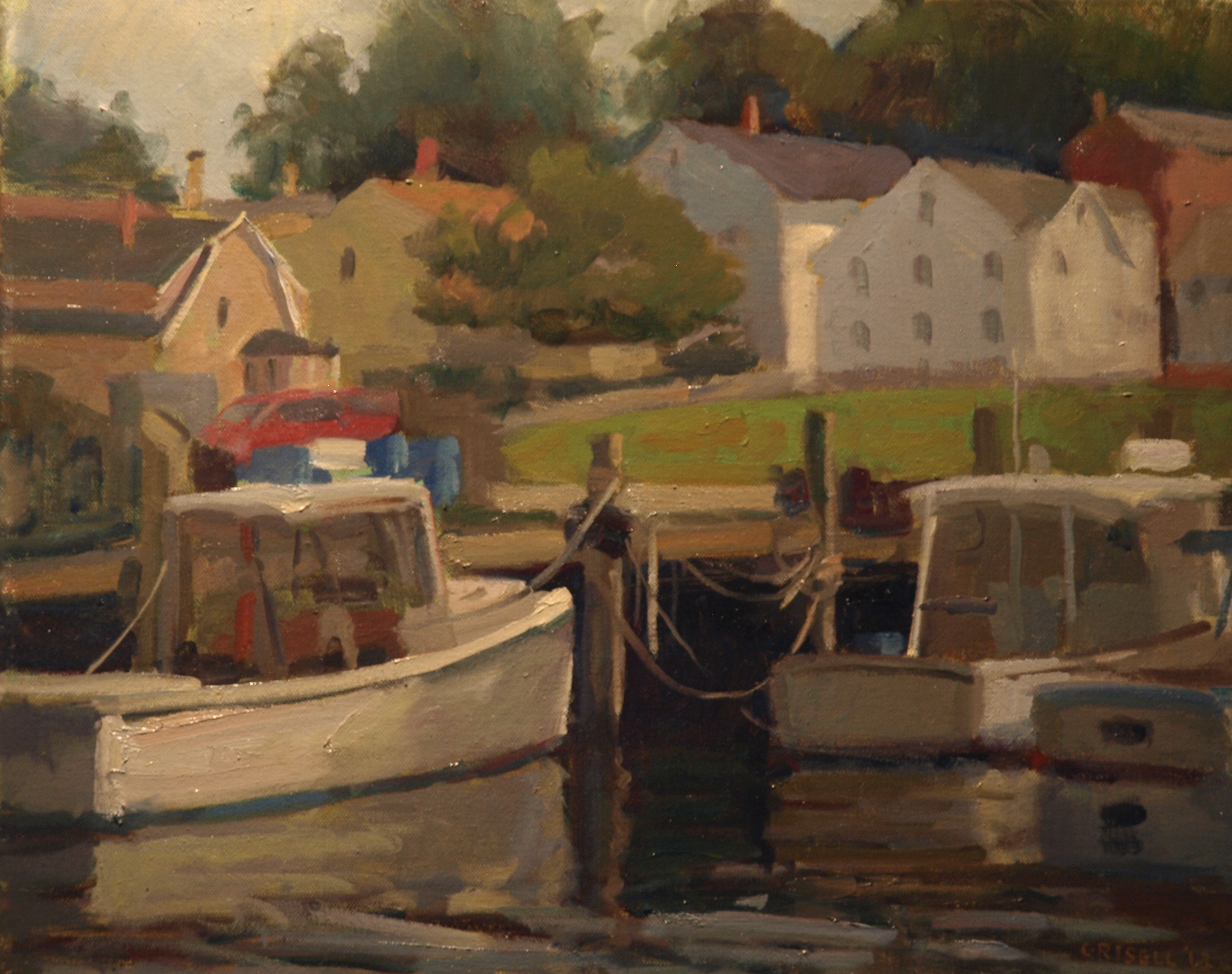Stonington Harbor, Oil on Canvas, 16 x 20 Inches, by Susan Grisell, $450