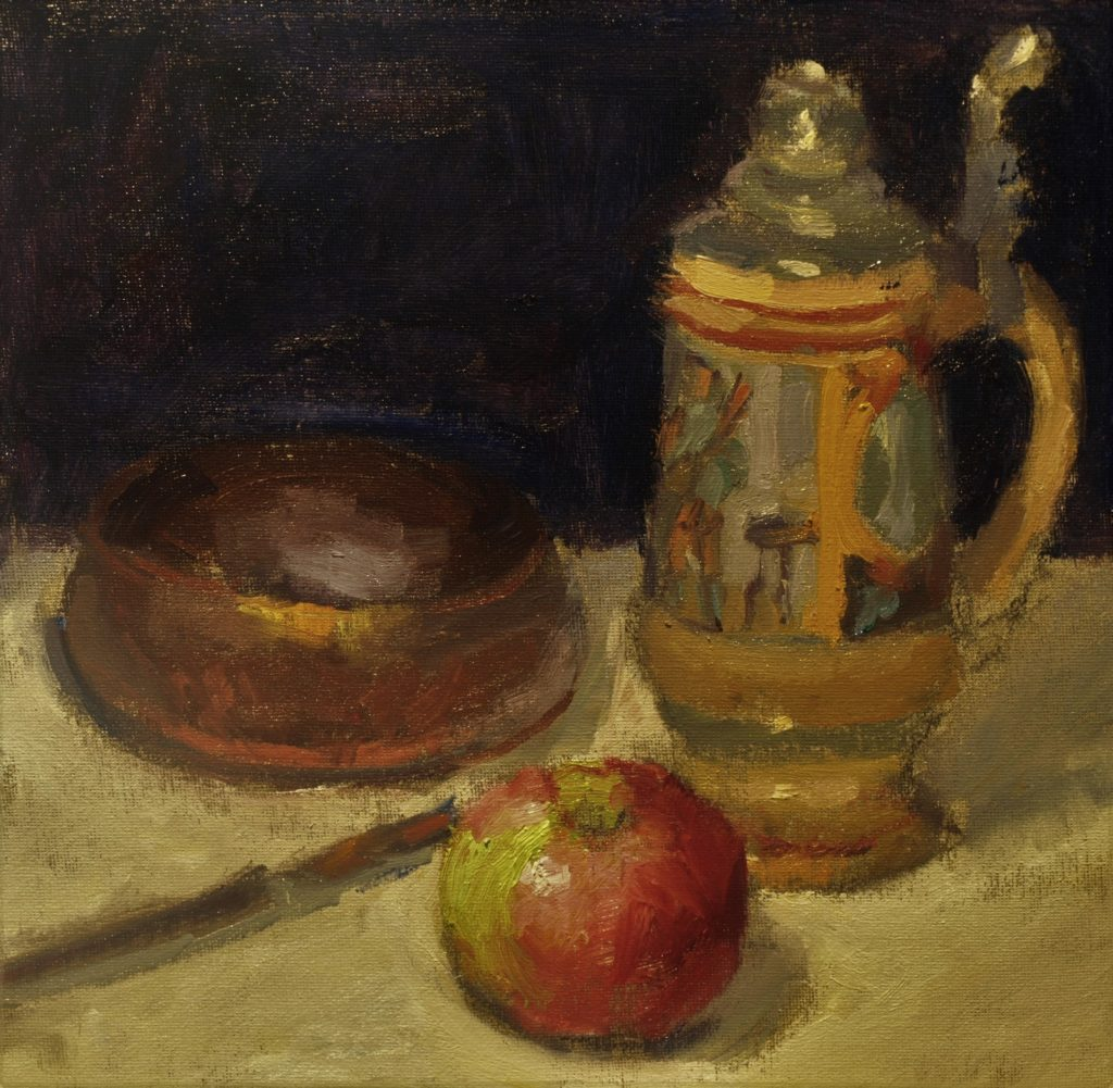 Beer Stein and Apple, Oil on Canvas on Panel, 12 x 12 Inches, by Susan Grisell, $275