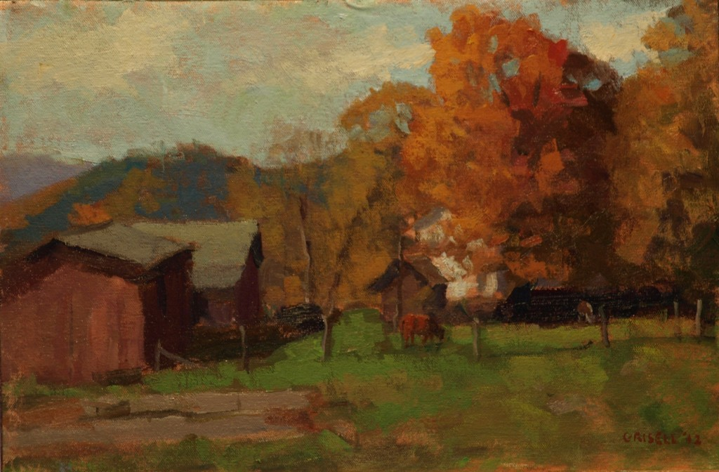 Farm - Spooner Hill, Oil on Canvas on Panel, 12 x 18 Inches, by Susan Grisell, $275