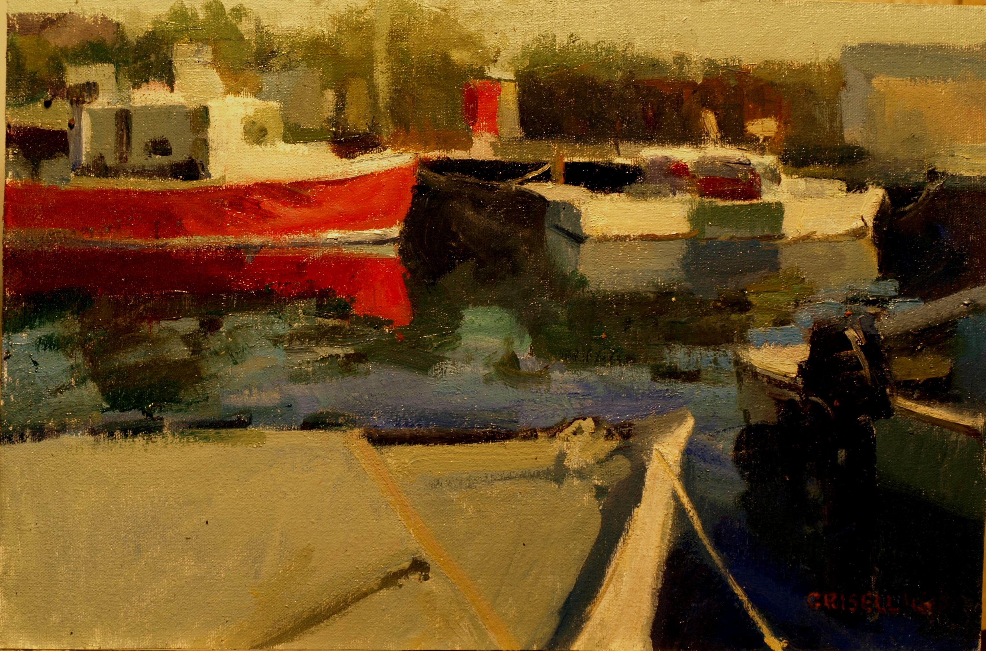 Fishing Boats Stonington, Oil on Canvas on Panel, 12 x 16 Inches, by Susan Grisell, $325
