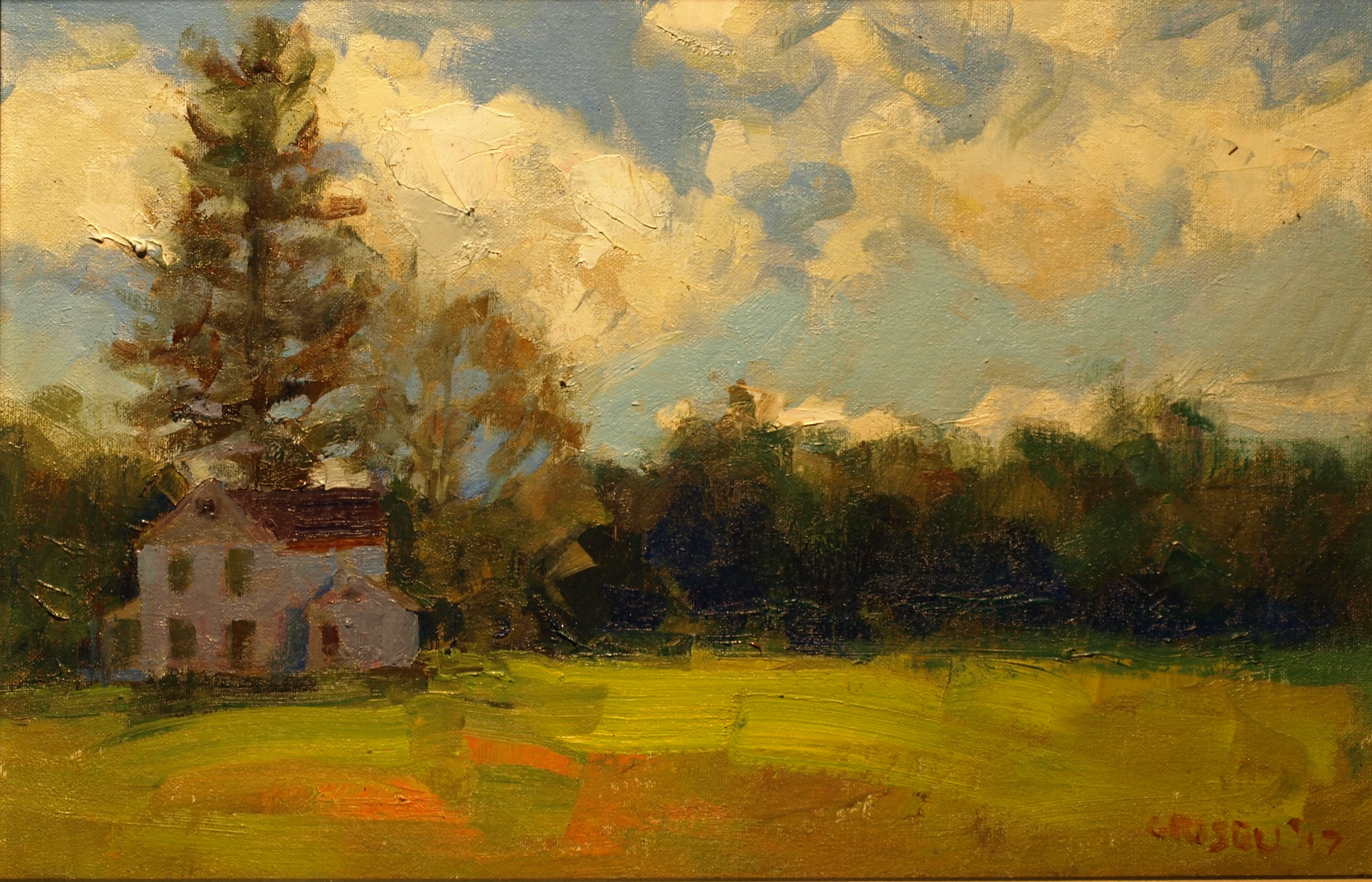 September Clouds, Oil on Canvas on Panel, 12 x 18 Inches, by Susan Grisell, $300
