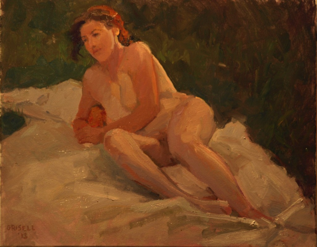 The Model Outdoors, Oil on Canvas, 16 x 20 Inches, by Susan Grisell, $450