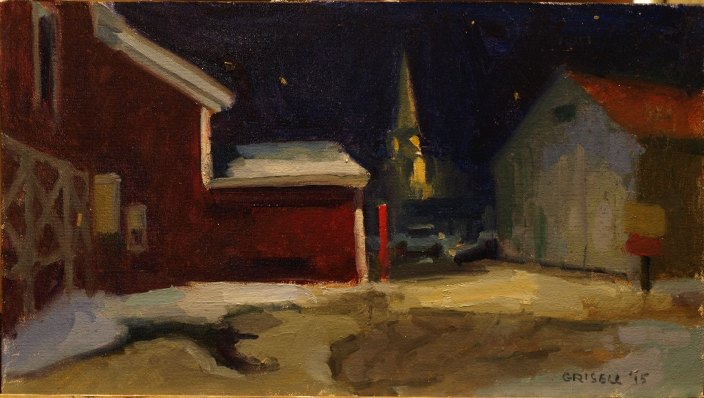 Winter Night, Oil on Canvas on Panel, 9 x 16 Inches, by Susan Grisell, $325