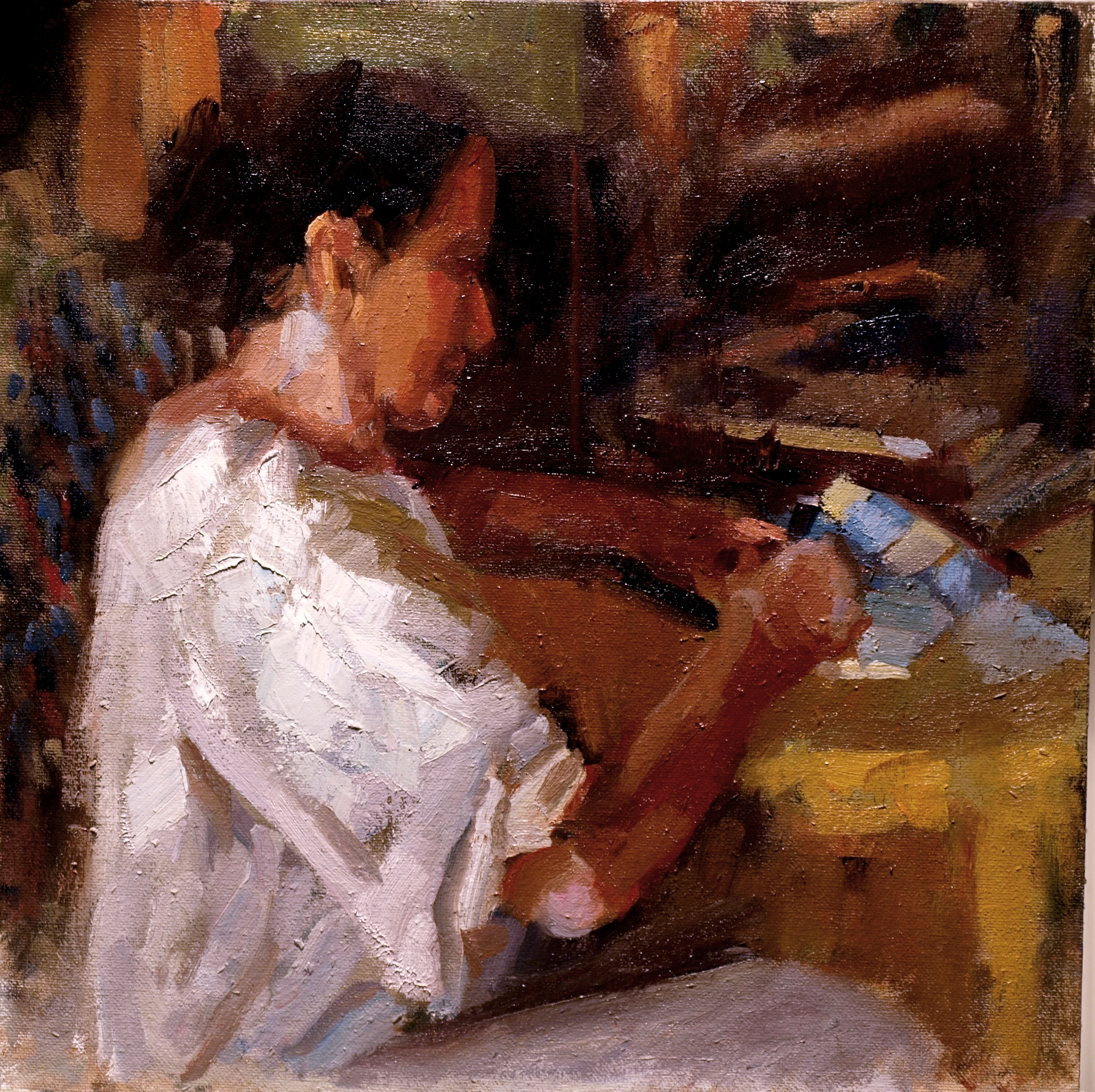 Martine Writing, Oil on Canvas on Panel, 12 x 12 Inches, by Susan Grisell, $300
